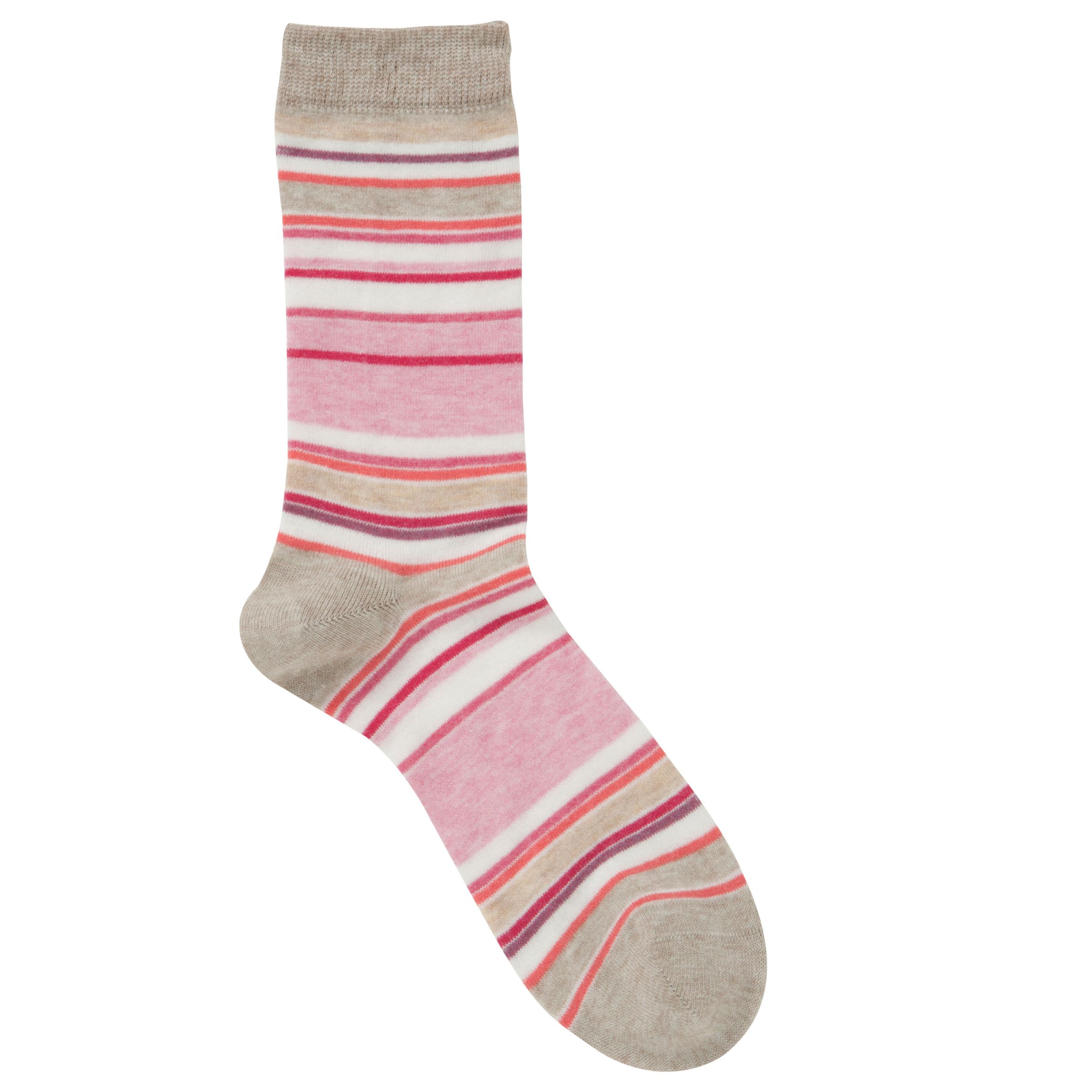 John Lewis Multi Strip Viscose Ankle Socks, Oatmeal