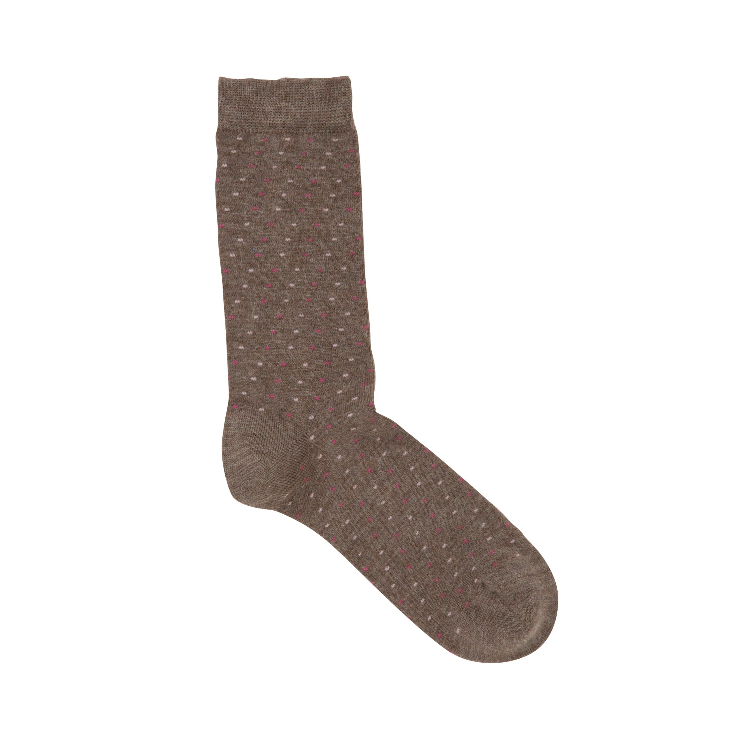 John Lewis Viscose Spotted Ankle Socks, Brown