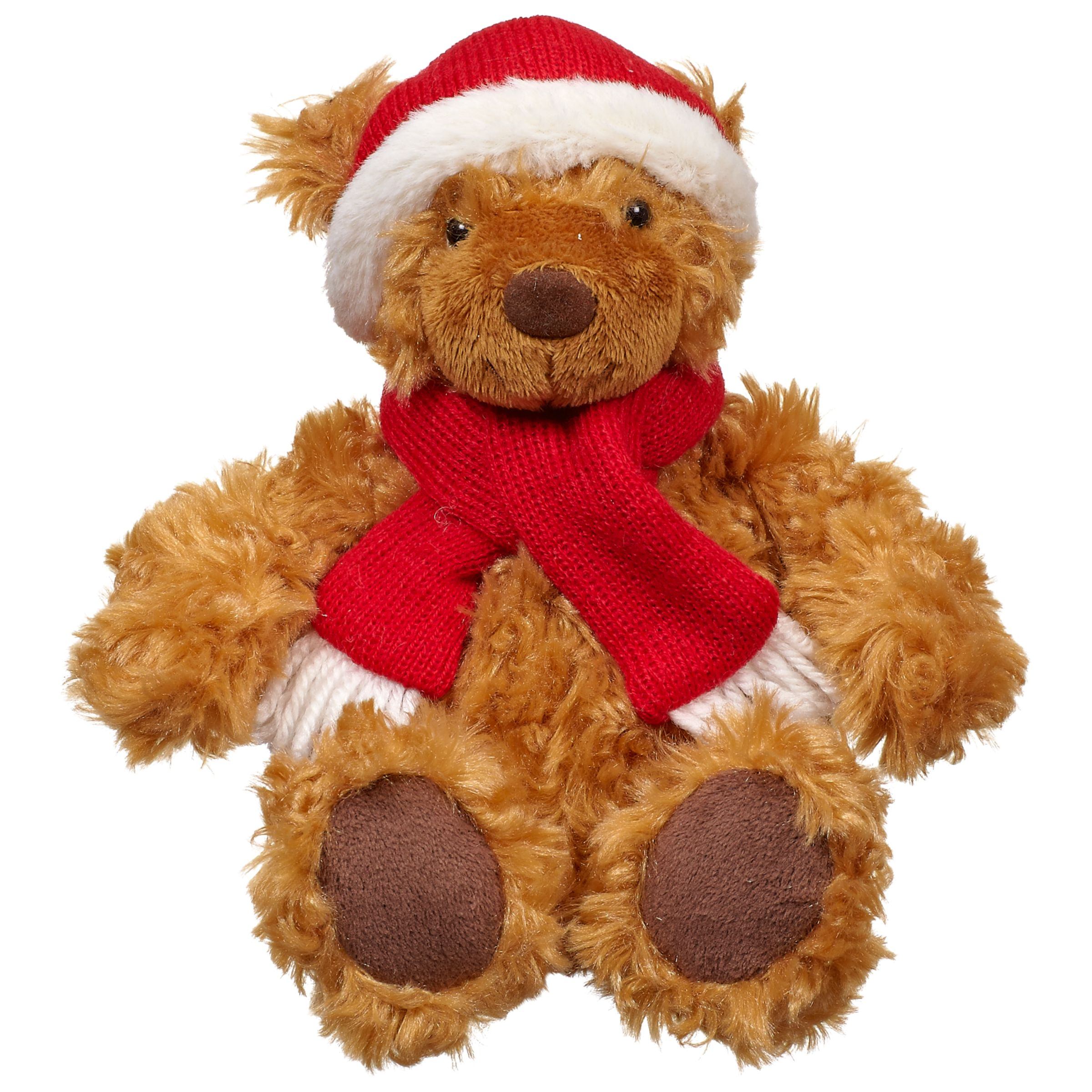 John Lewis Lewis Christmas Bear Small, Brown/Red