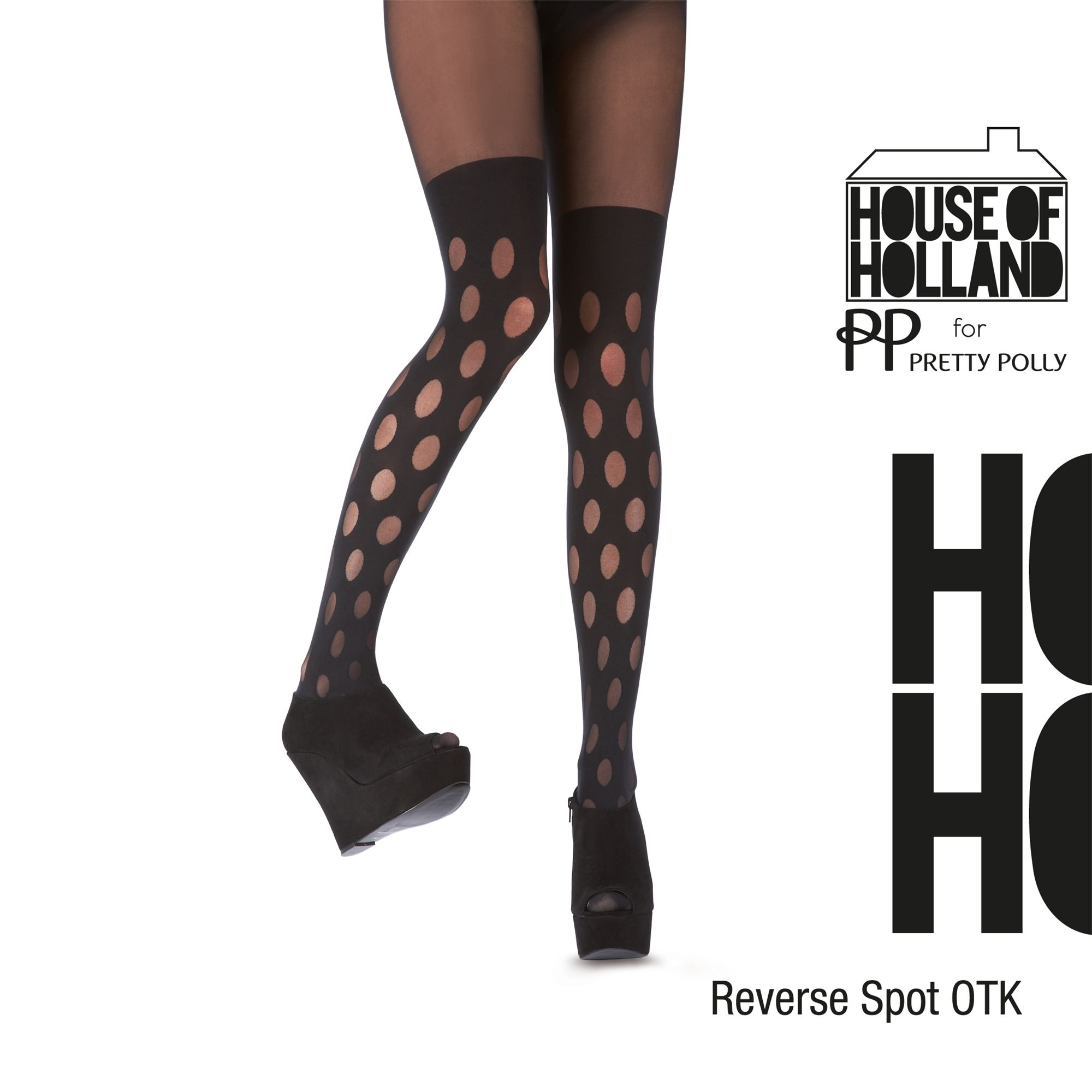 Henry Holland Reverse Polka Mock Tights, Black