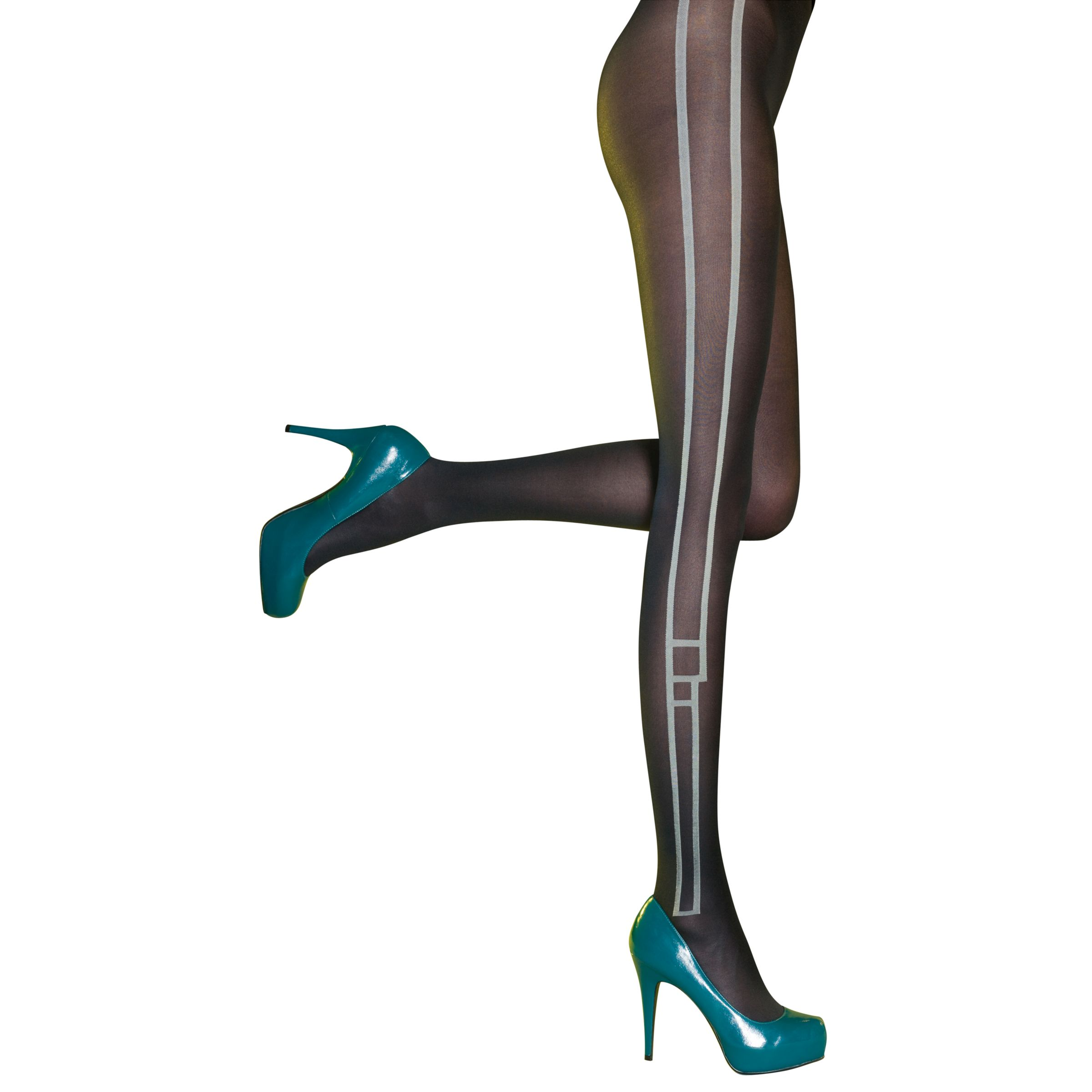 Pretty Polly Panel Tights, Black/White