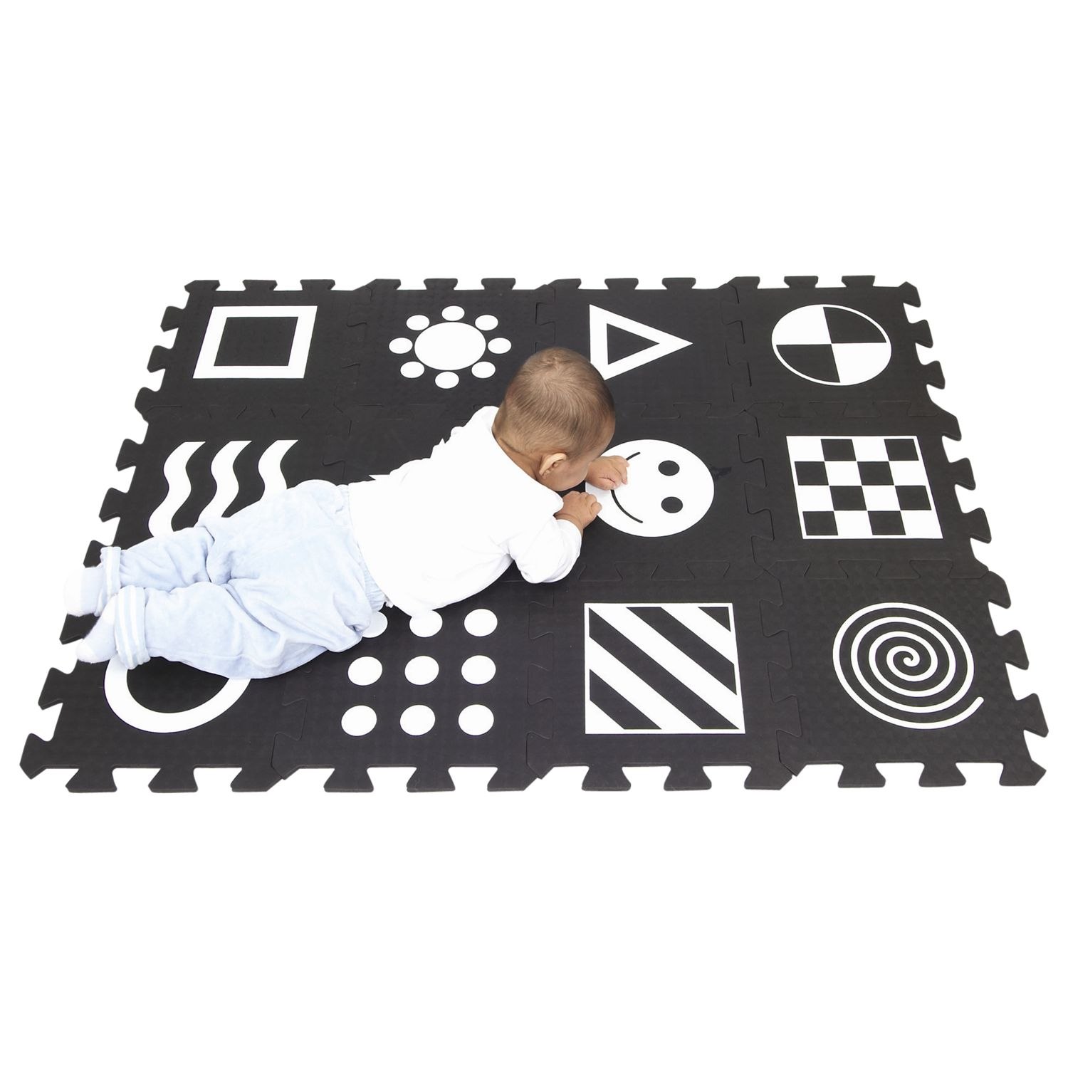 Soft Play Zone Baby Development Play Mat, Black/White