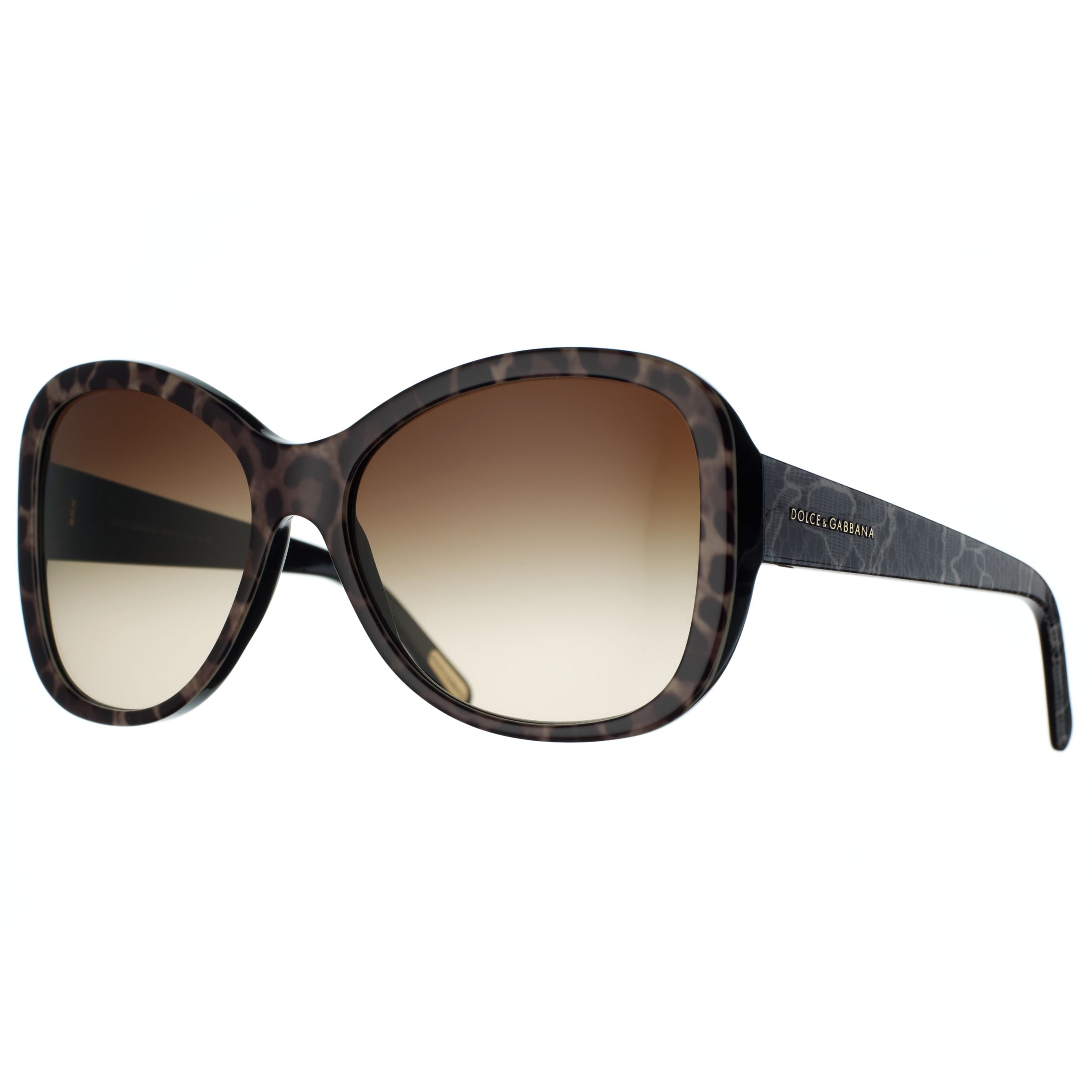 Dolce & Gabbana Animal Rectangle Sunglasses, Brown