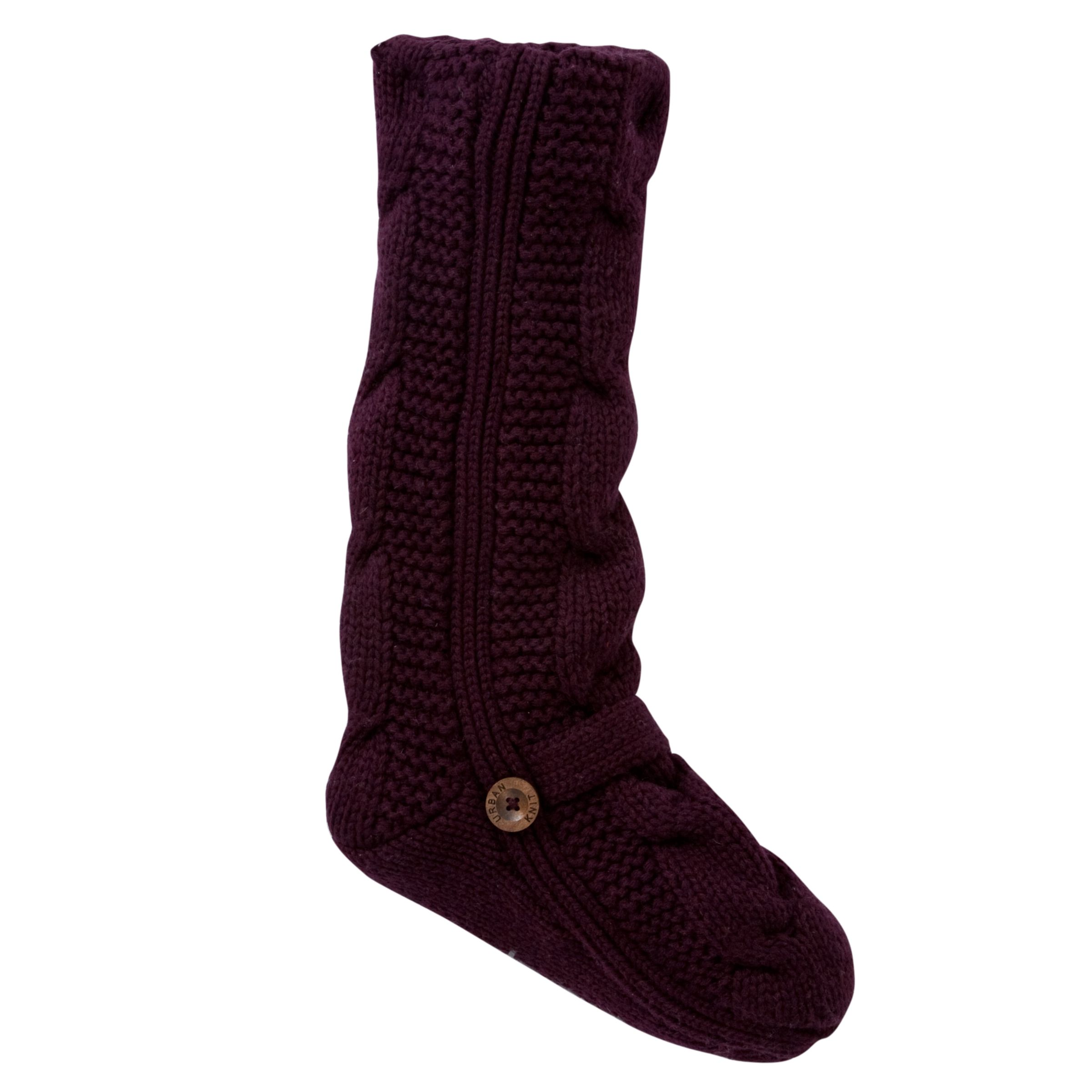 Urban Knit Monster Cable Slip Socks, Plum