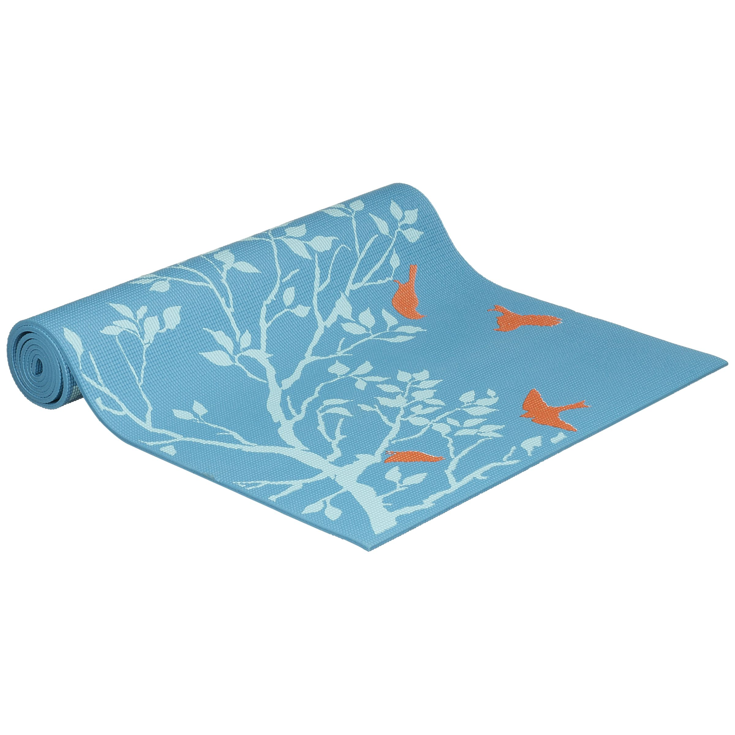 Gaiam Premium Habitat Print Yoga Mat, Blue/Orange