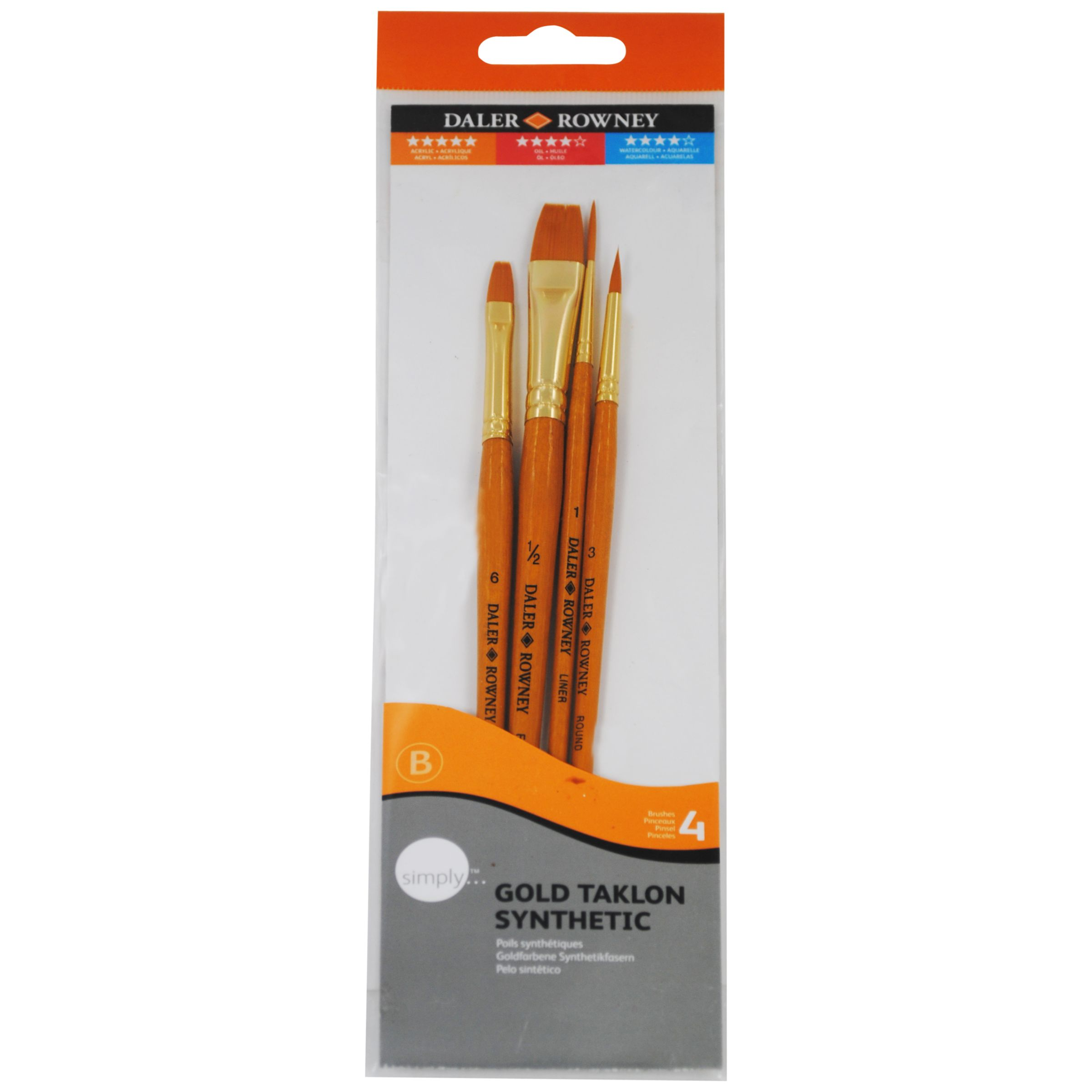 Daler-Rowney Gold Taklon Short Handled Brushes, Set of 4