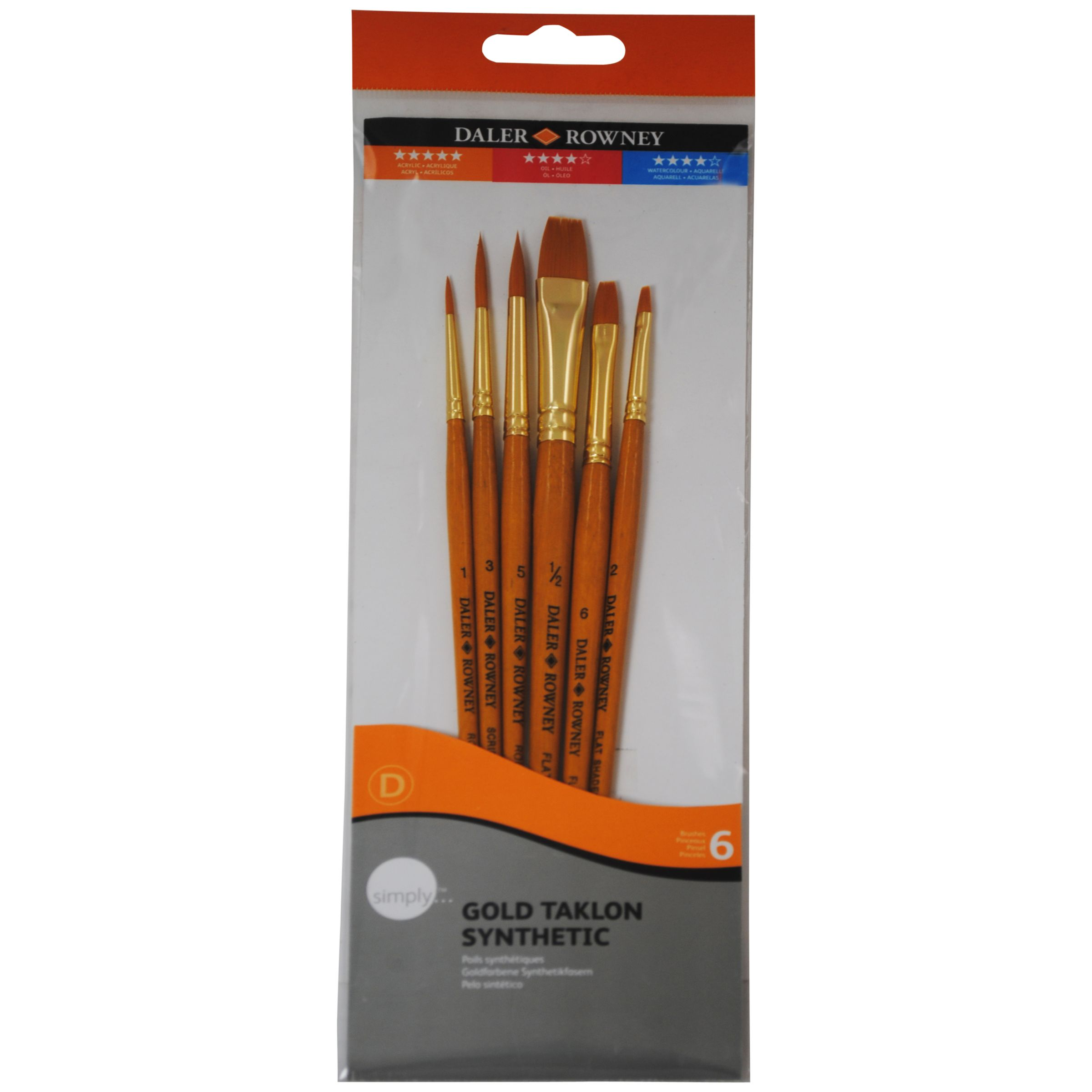 Daler-Rowney Gold Taklon Short Handled Brushes, Set of 6