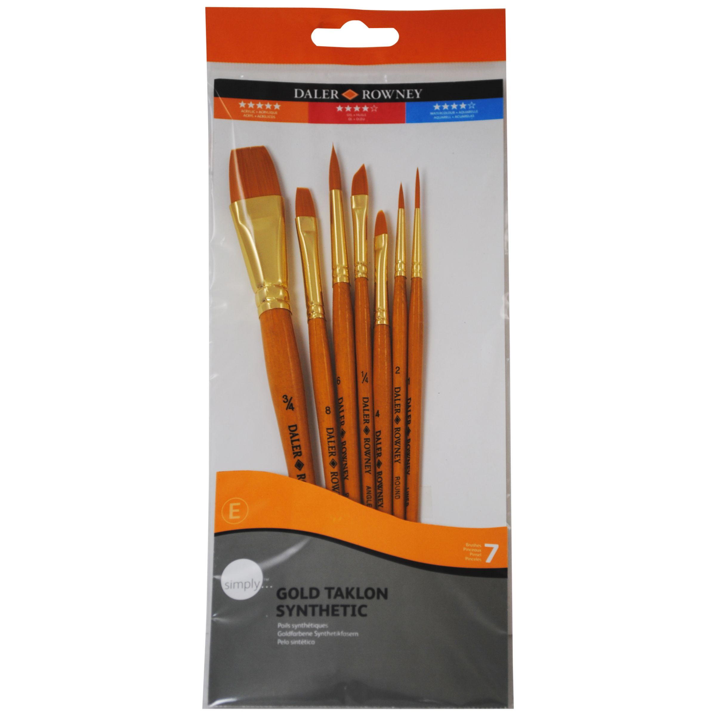 Daler-Rowney Gold Taklon Short Handled Brushes, Set of 7