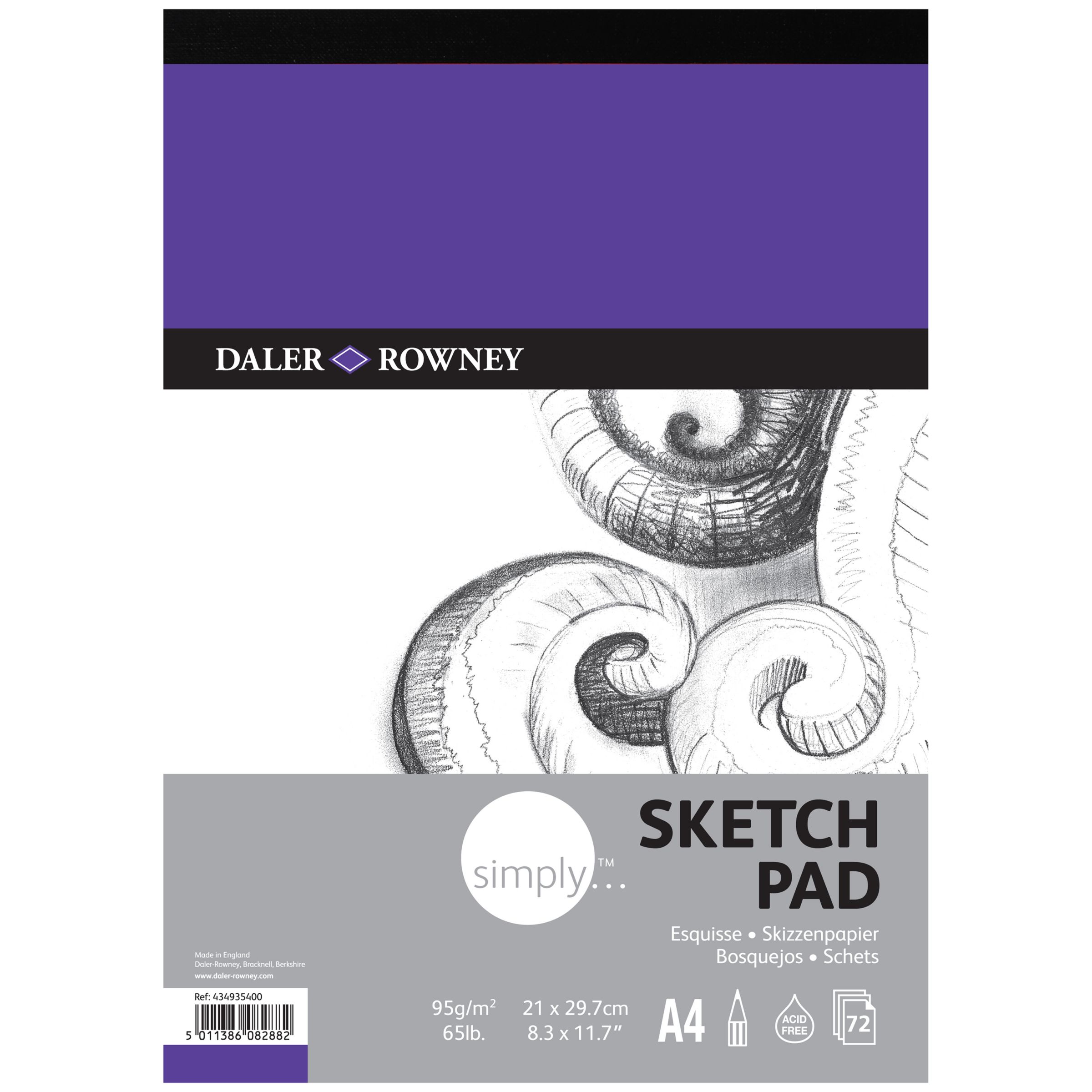 Daler-Rowney Simply A4 Sketch Pad, 72 sheets