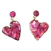 One Button Crystal Heart Drop Earrings, Pink
