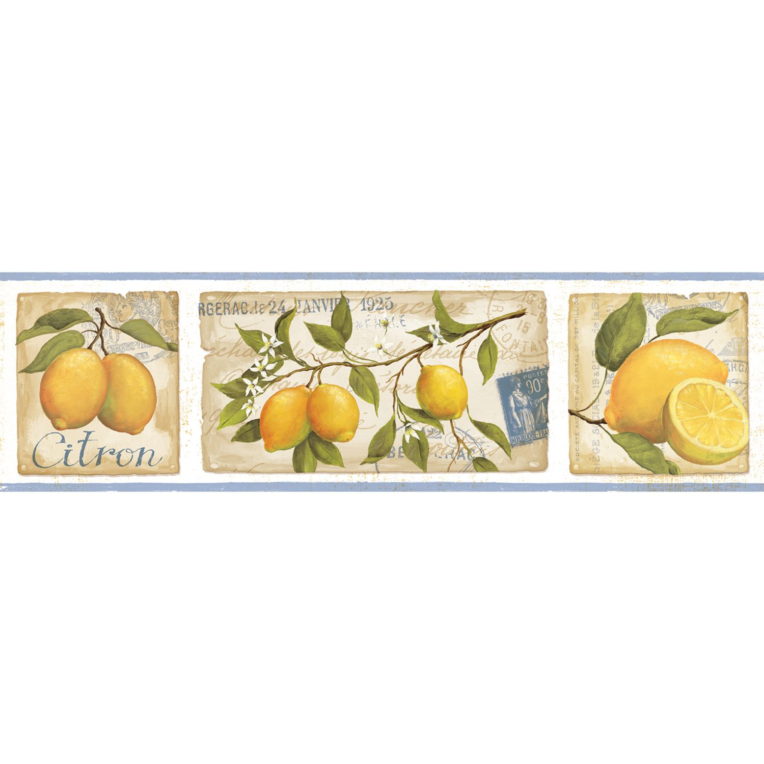 Galerie Aquarius Lemons Kitchen Wallpaper Border, Blue, G90051