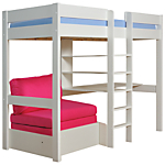 Stompa Uno Plus High Sleeper with Chair Bed and Desk , Pink