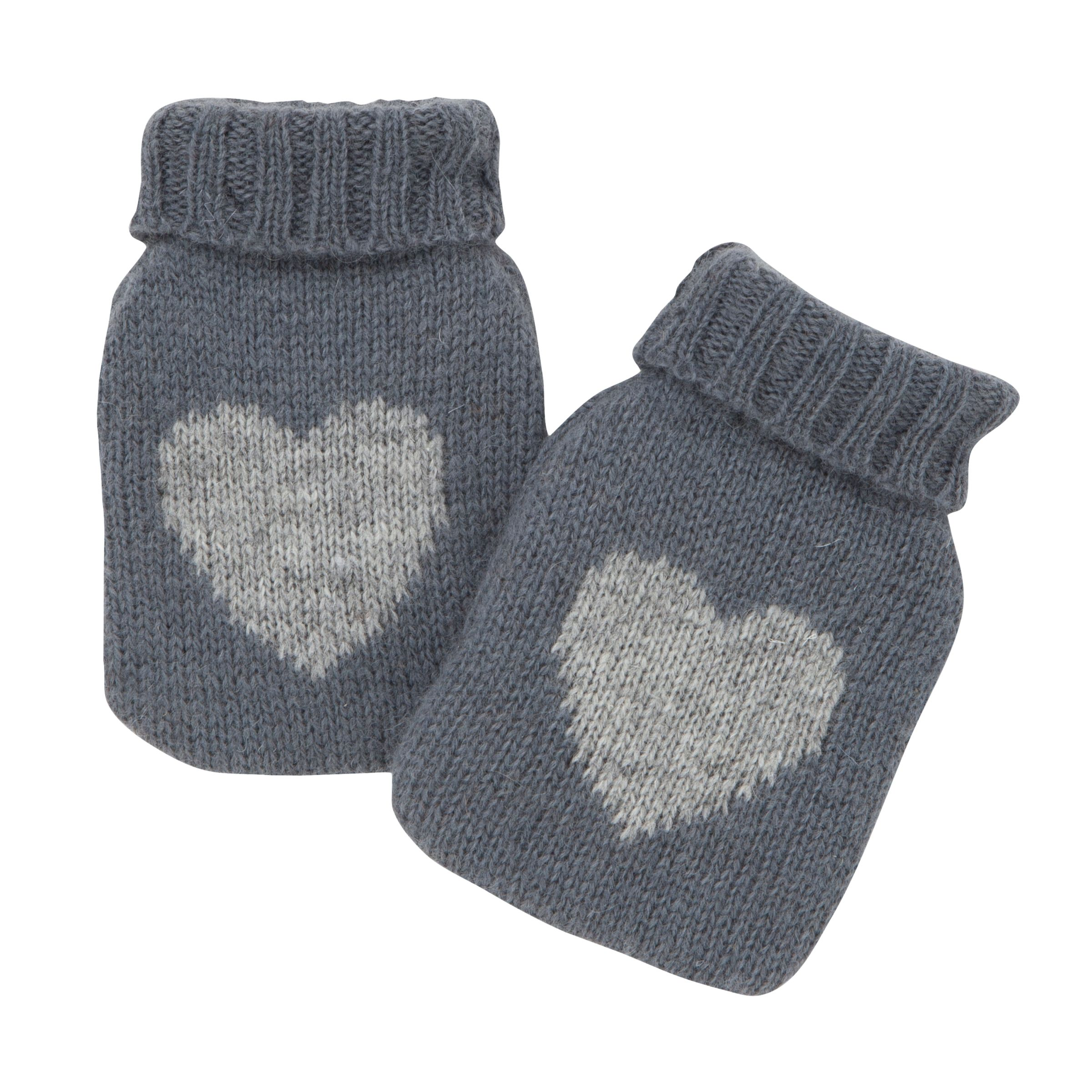 John Lewis Knit Heart Print Handwarmers, Grey