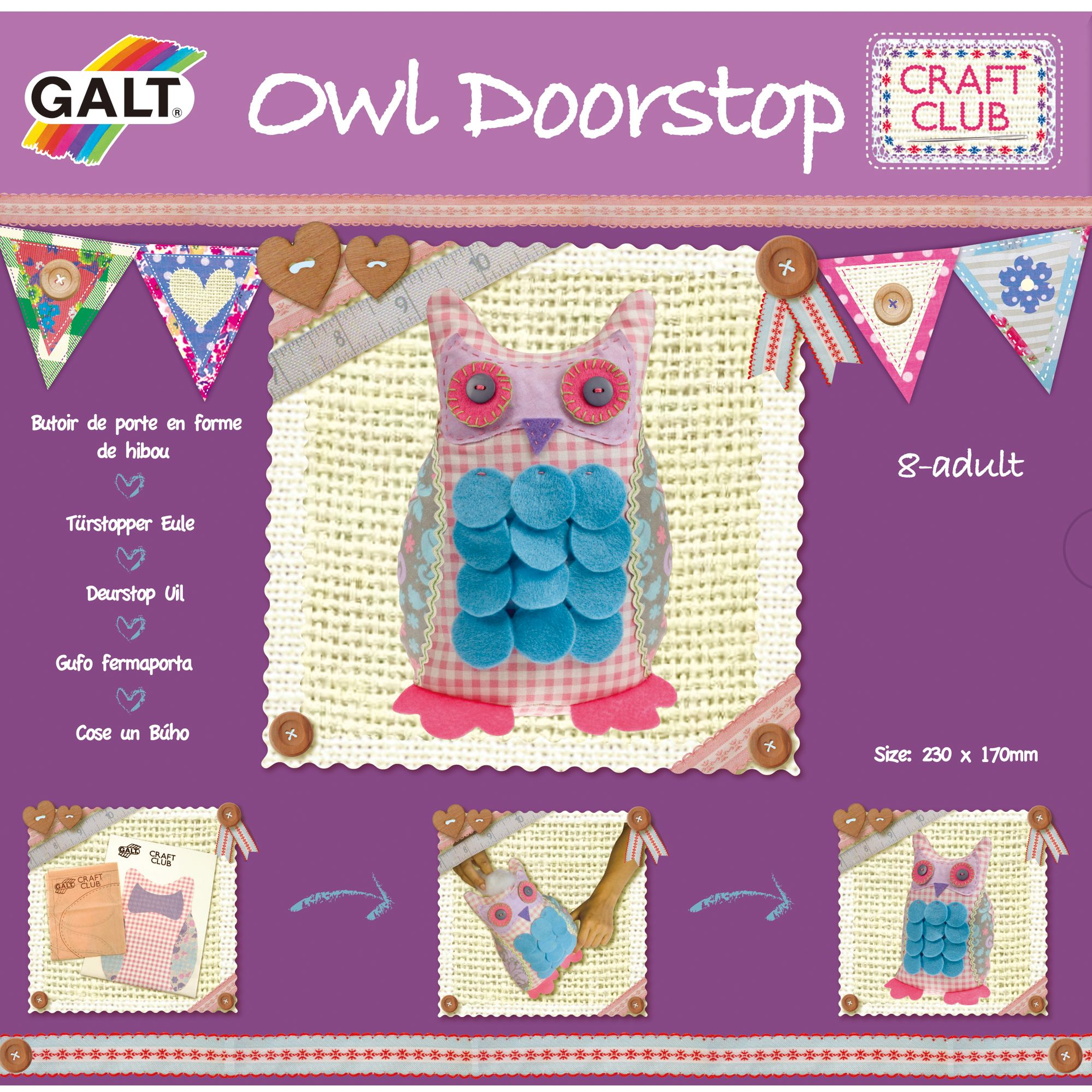 Galt Craft Club Kit, Stitch An Owl Doorstop