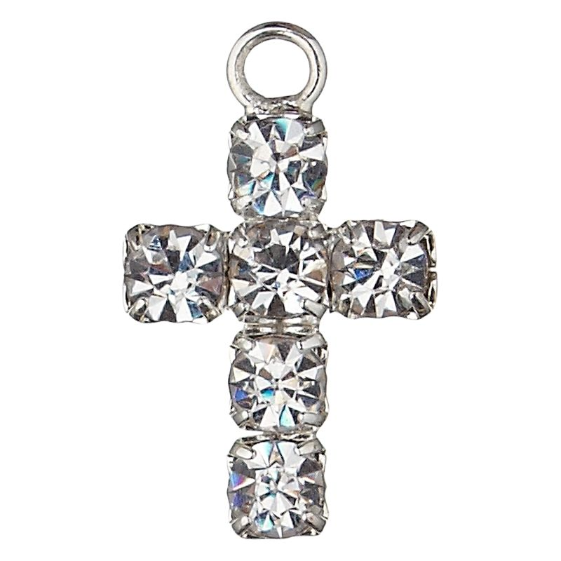 Groves A La Mode Charm, Diamante Cross, Silver