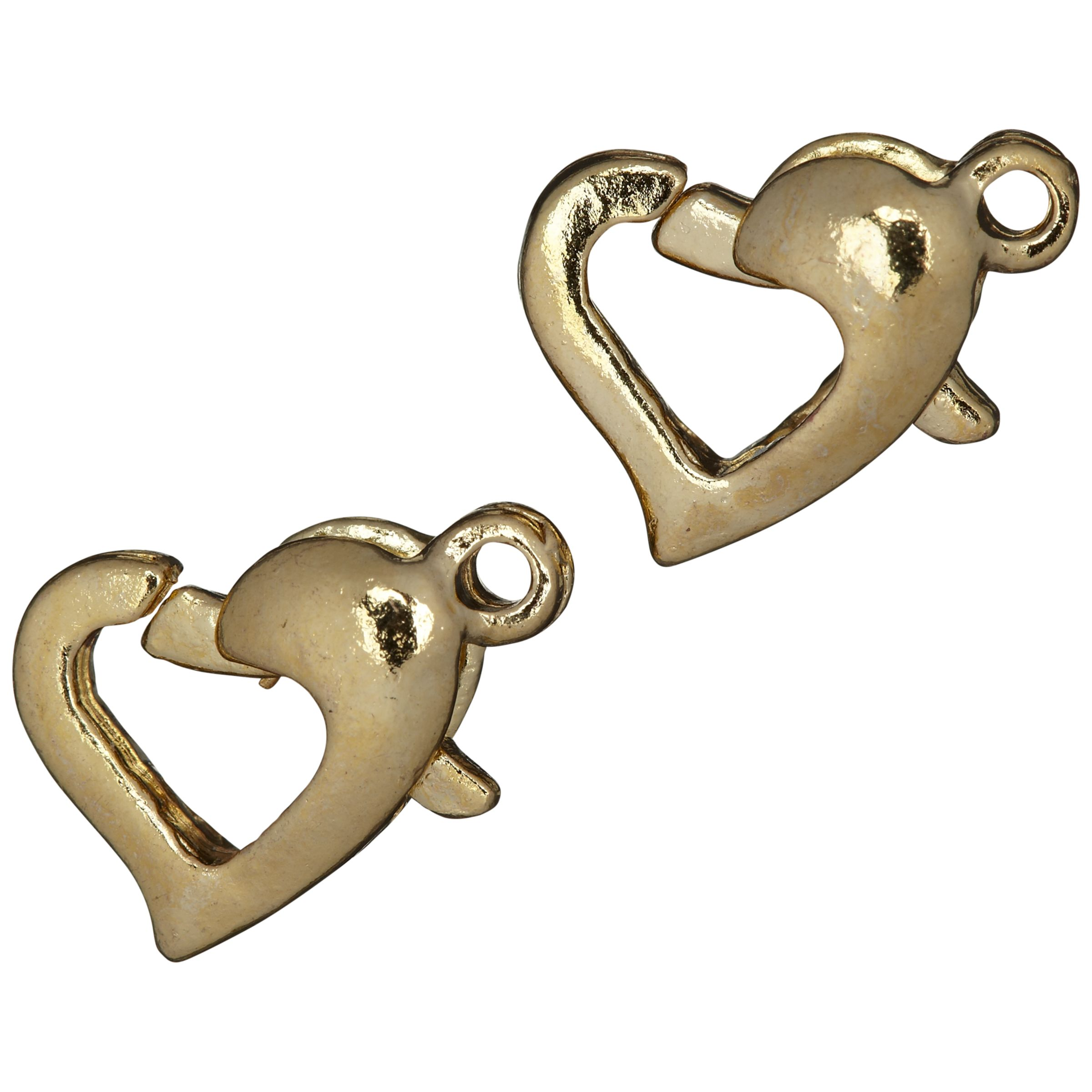 Groves A La Mode Trimits Jewellery Heart Trigger Clasps, Pack of 2, Gold Plated
