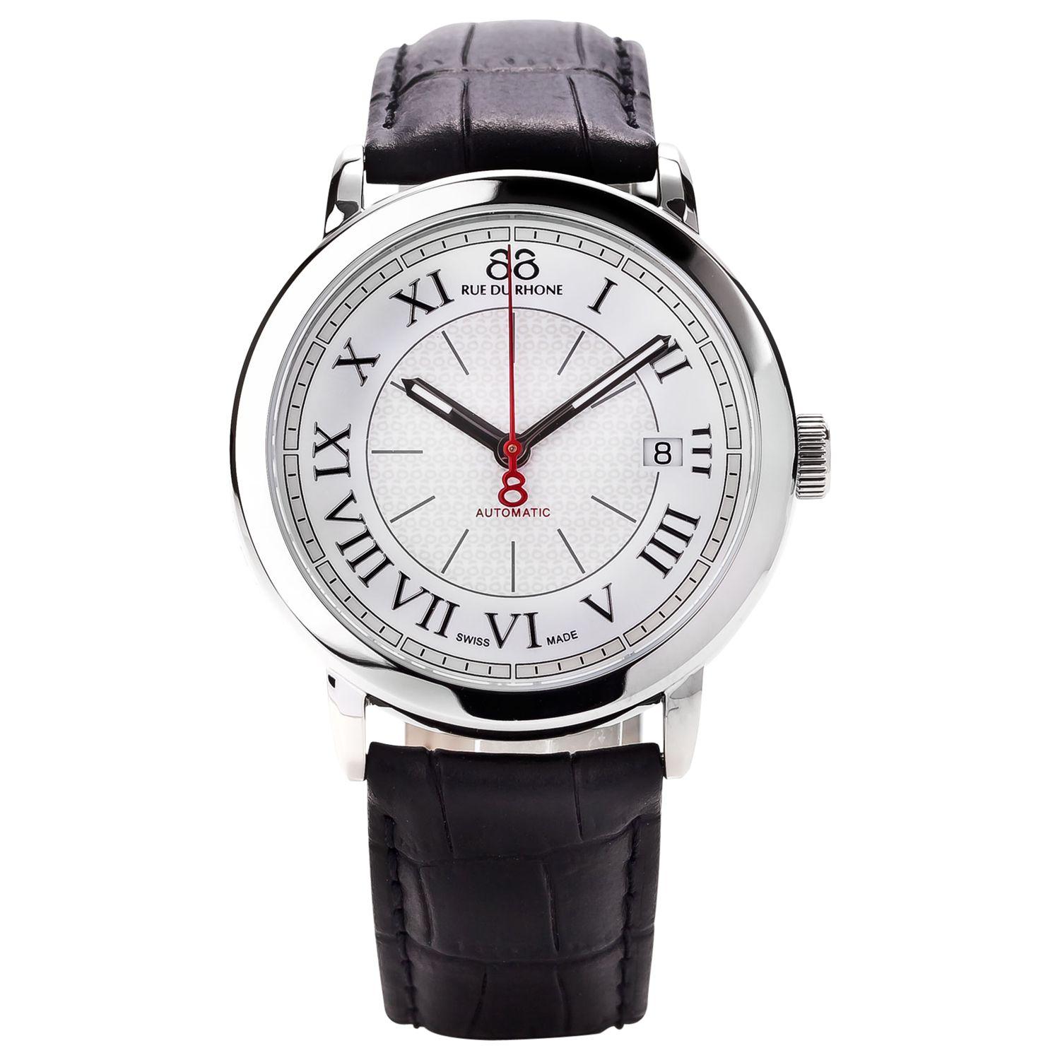 88 Rue Du Rhone 87WA120033 Men's Roman Numeral Leather Strap Watch, Black/Silver
