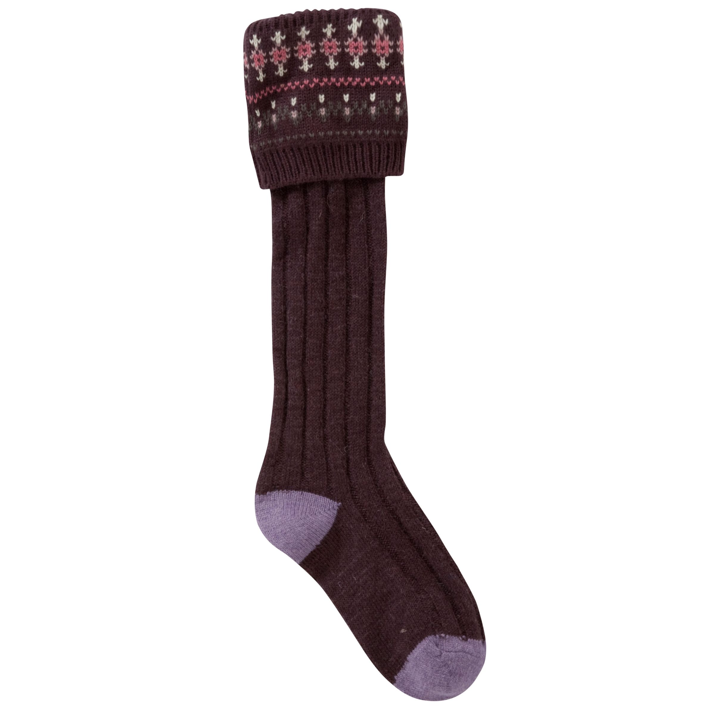 Fat Face Fine Stripe Boot Socks, Plum