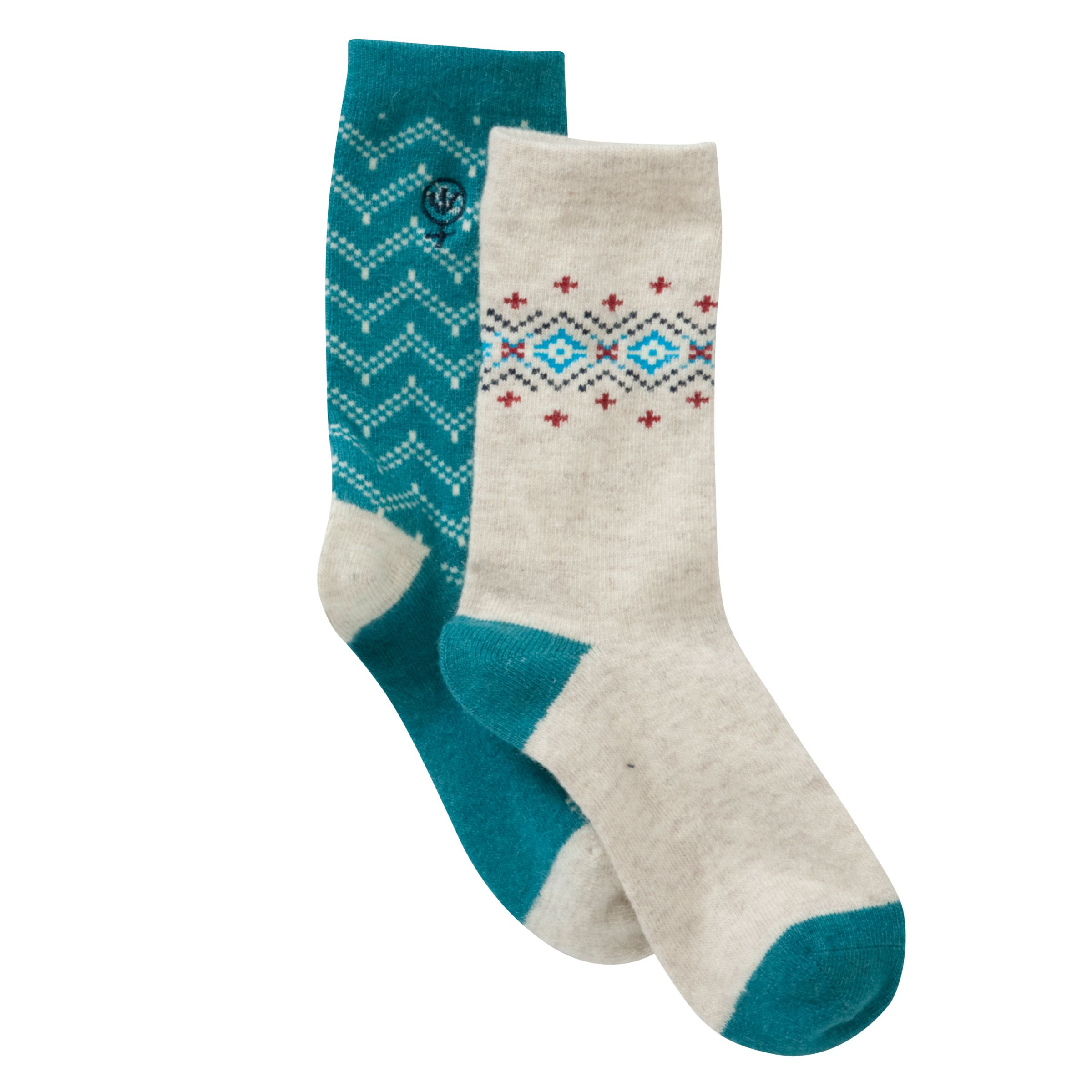 Fat Face Angora Fairisle Socks, 2 Pack, Teal