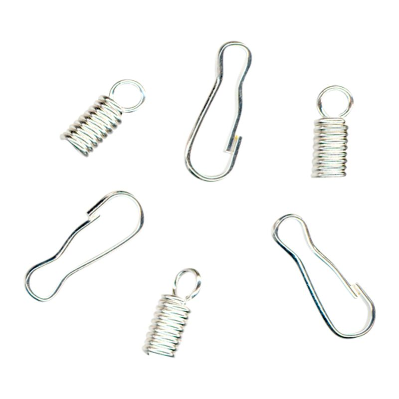 John Lewis Spring Ends and Hooks, Pack of 5, Silver