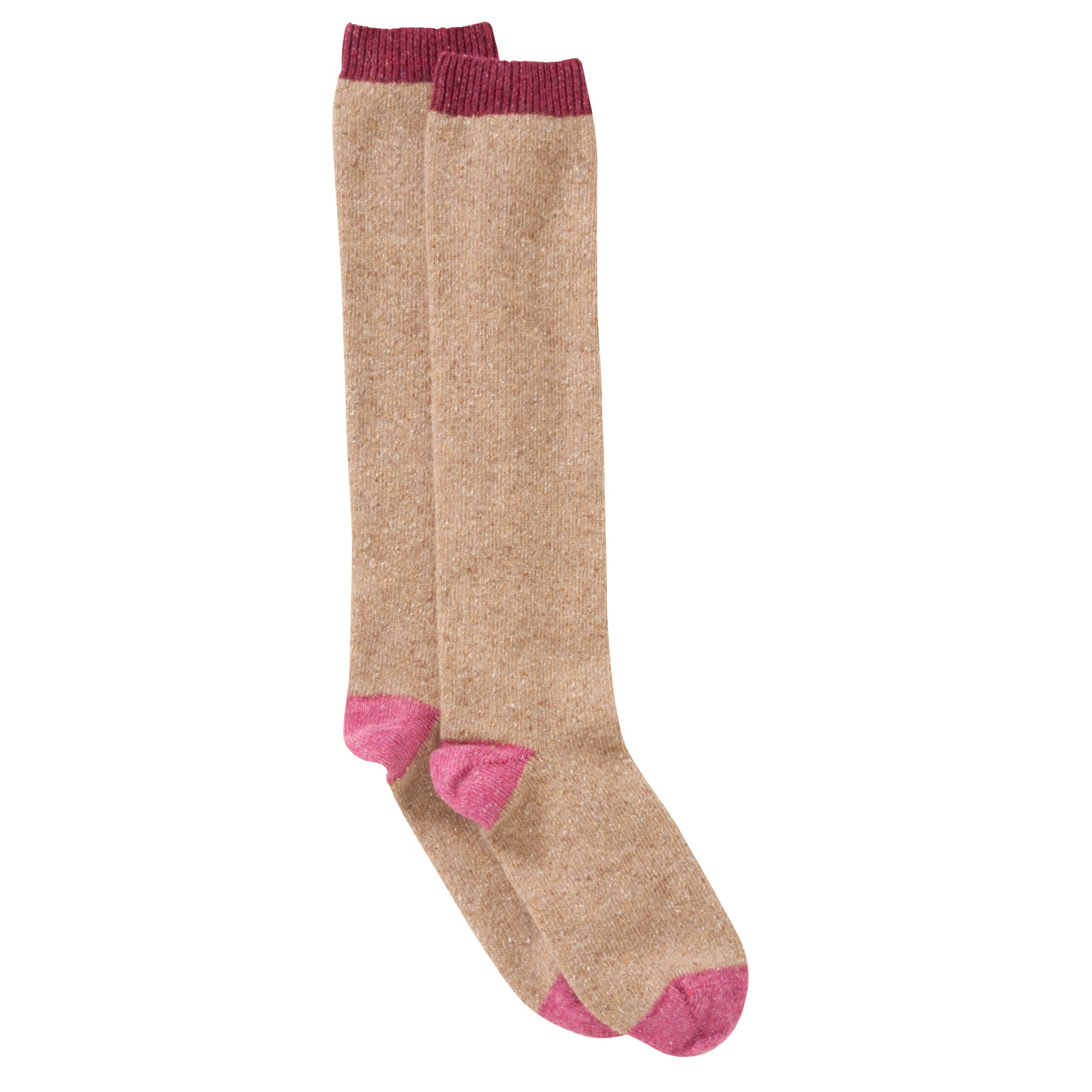 John Lewis Wool Silk Blend Heel and Toe Knee High Socks, Pink