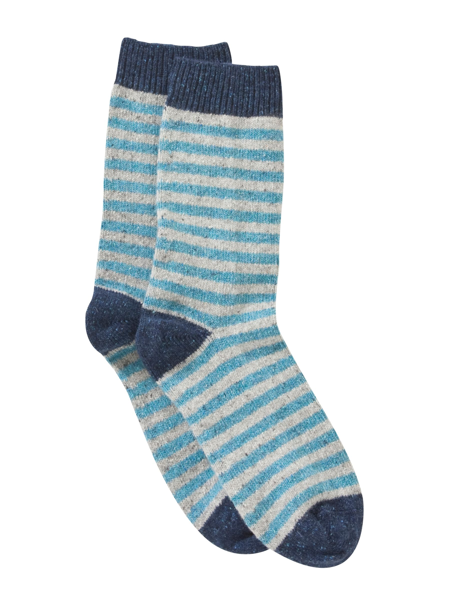 John Lewis Wool Silk Blend Striped Ankle Socks, Blue
