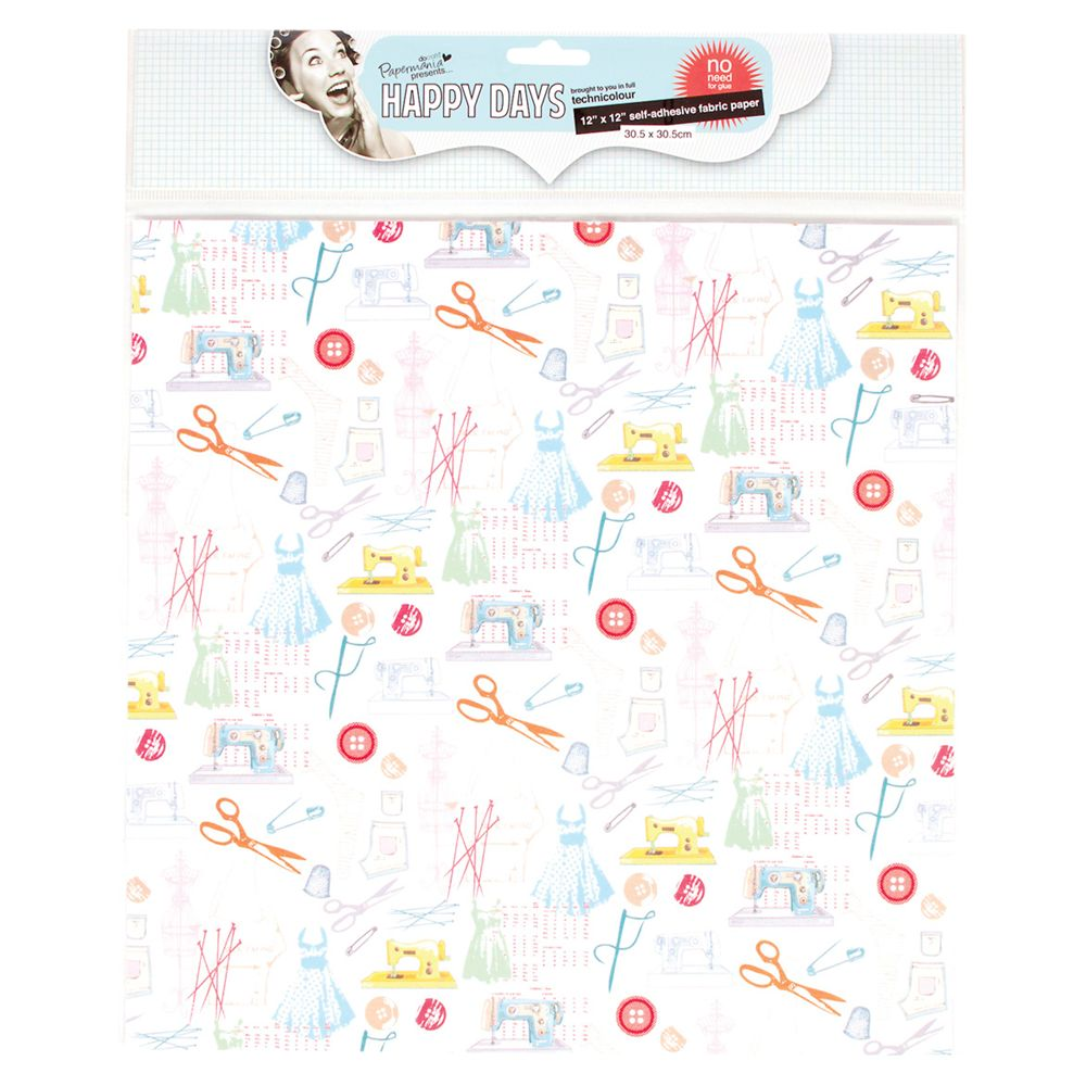 Docrafts Papermania Happy Days Fabric Paper, Haberdashery, 12x12""