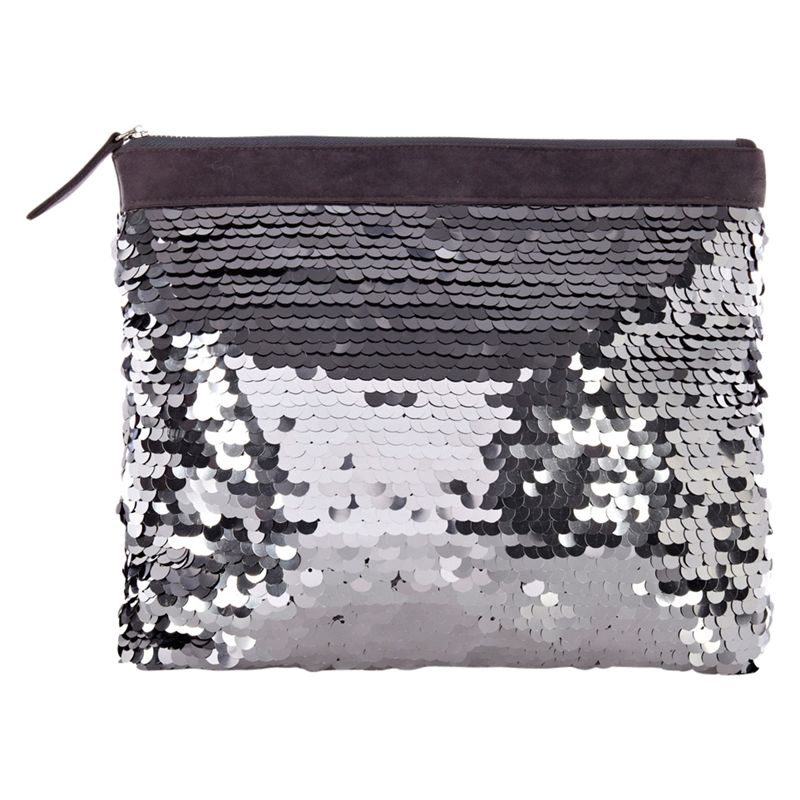 Oasis Sequin Embellished Clutch Bag, Silver
