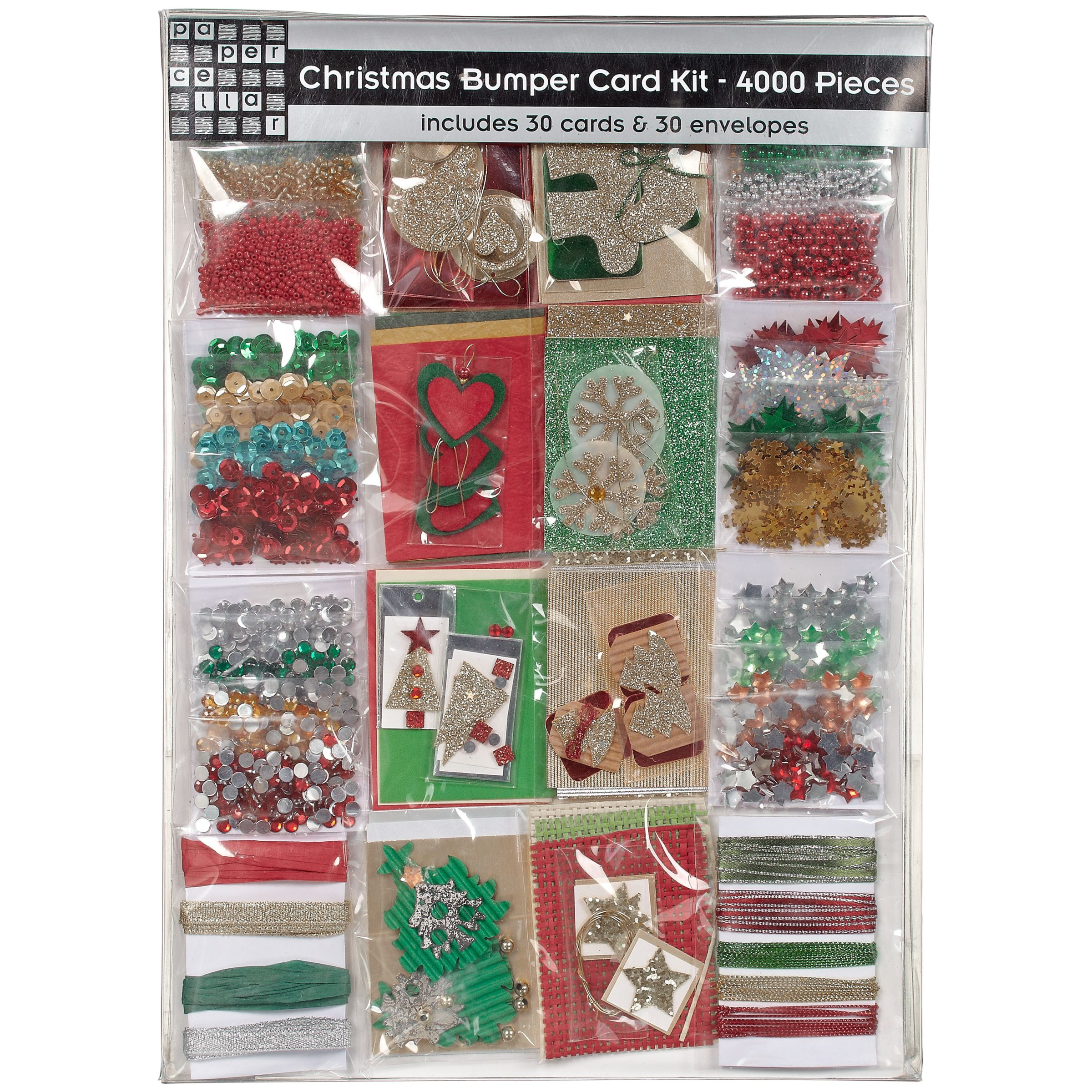 John Lewis Christmas Bumper Card Kit, 4000 Pieces, Red/Green