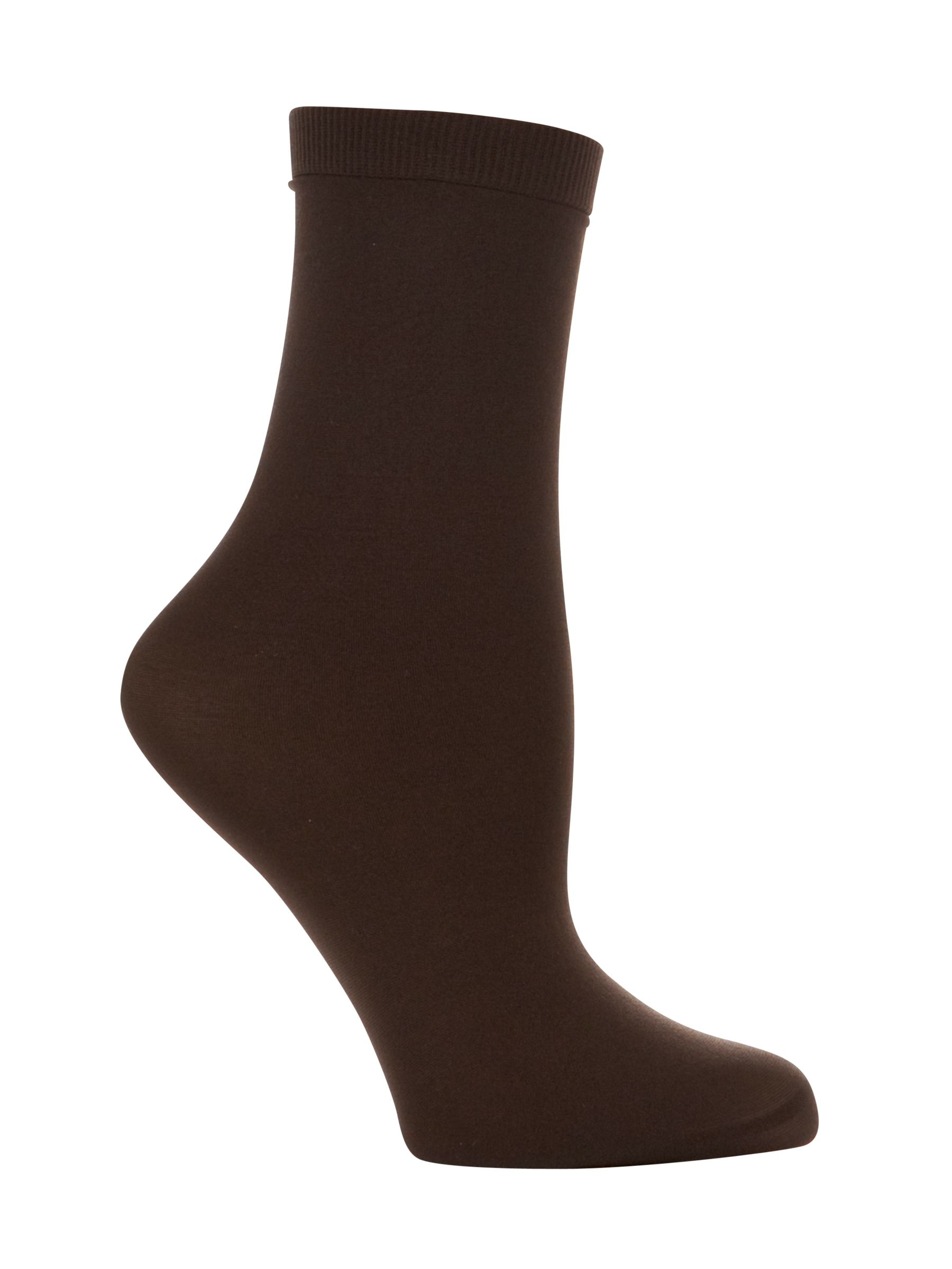 John Lewis 40 Denier Anklet Socks, Pack of 2, Bark