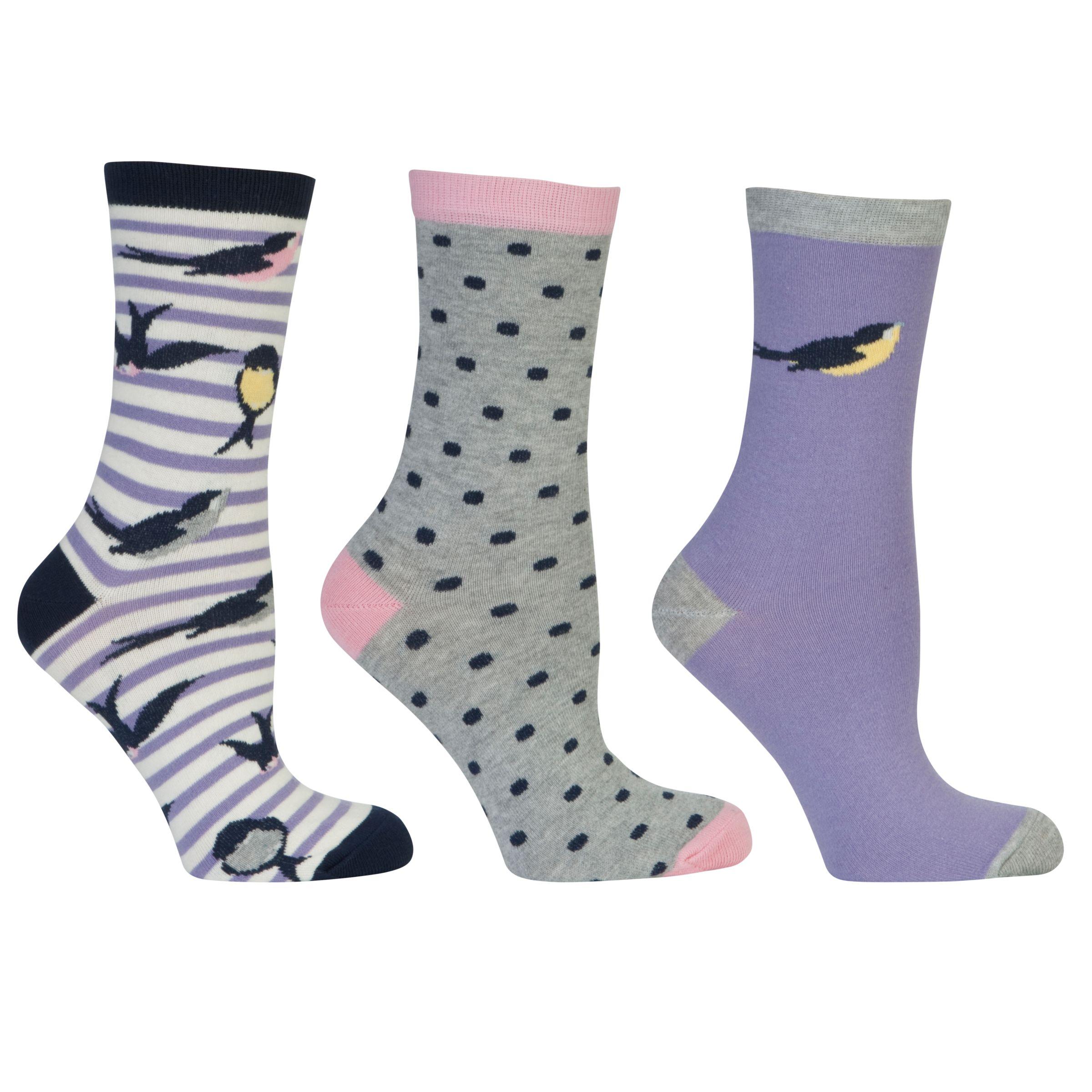 John Lewis Bird Stripe Socks, Pack of 3