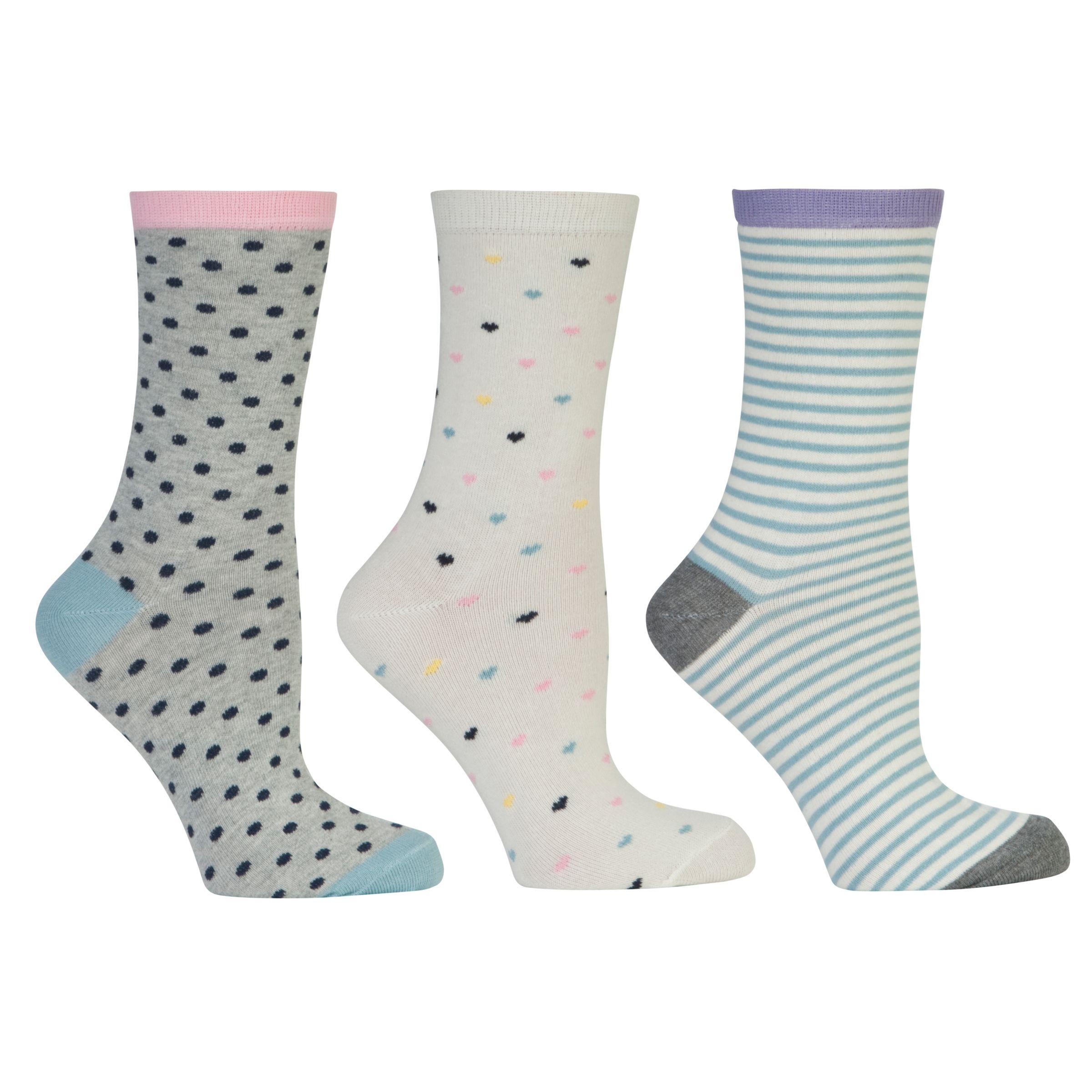 John Lewis Heart Socks, Multi, Pack of 3