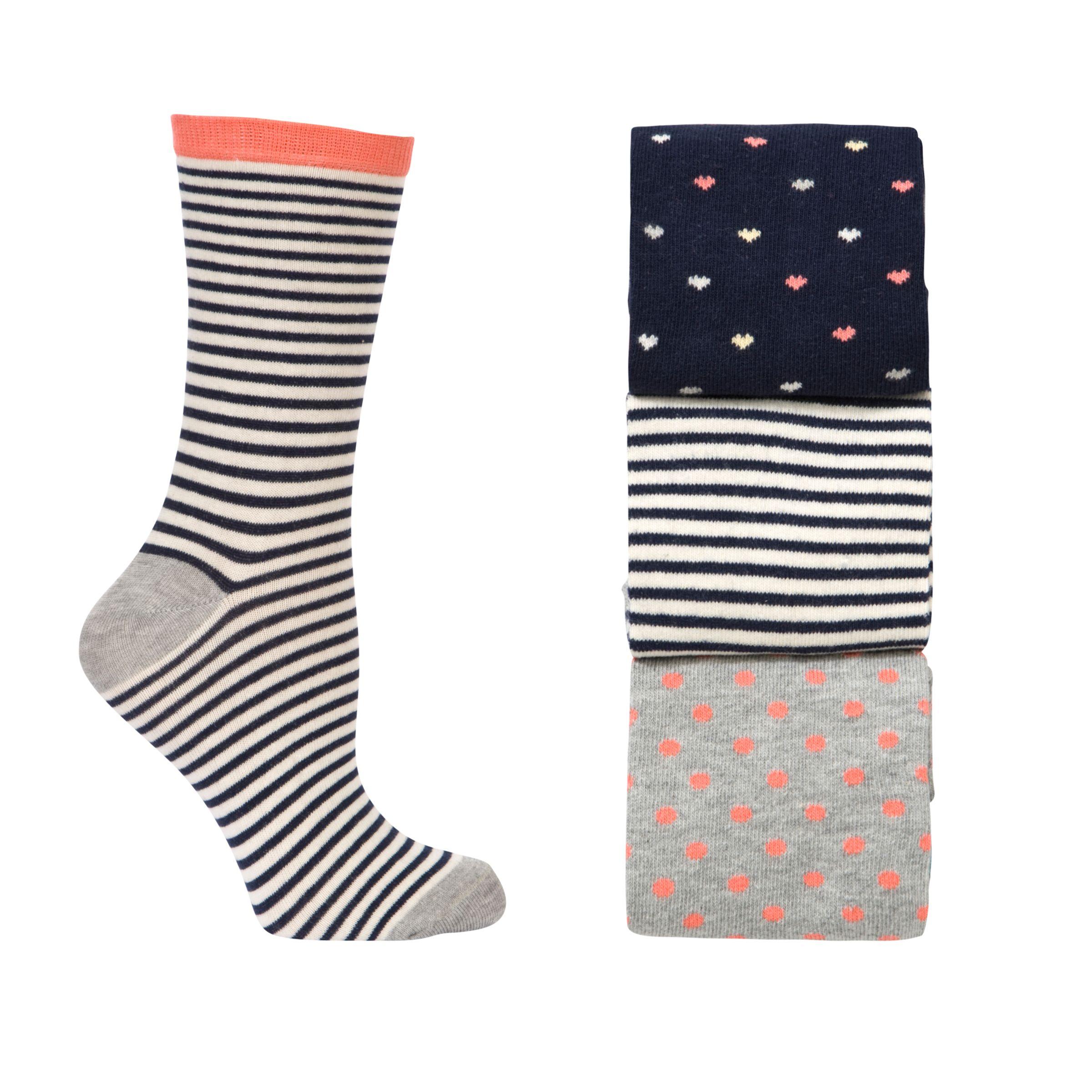 John Lewis Heart Socks, Navy, Pack of 3