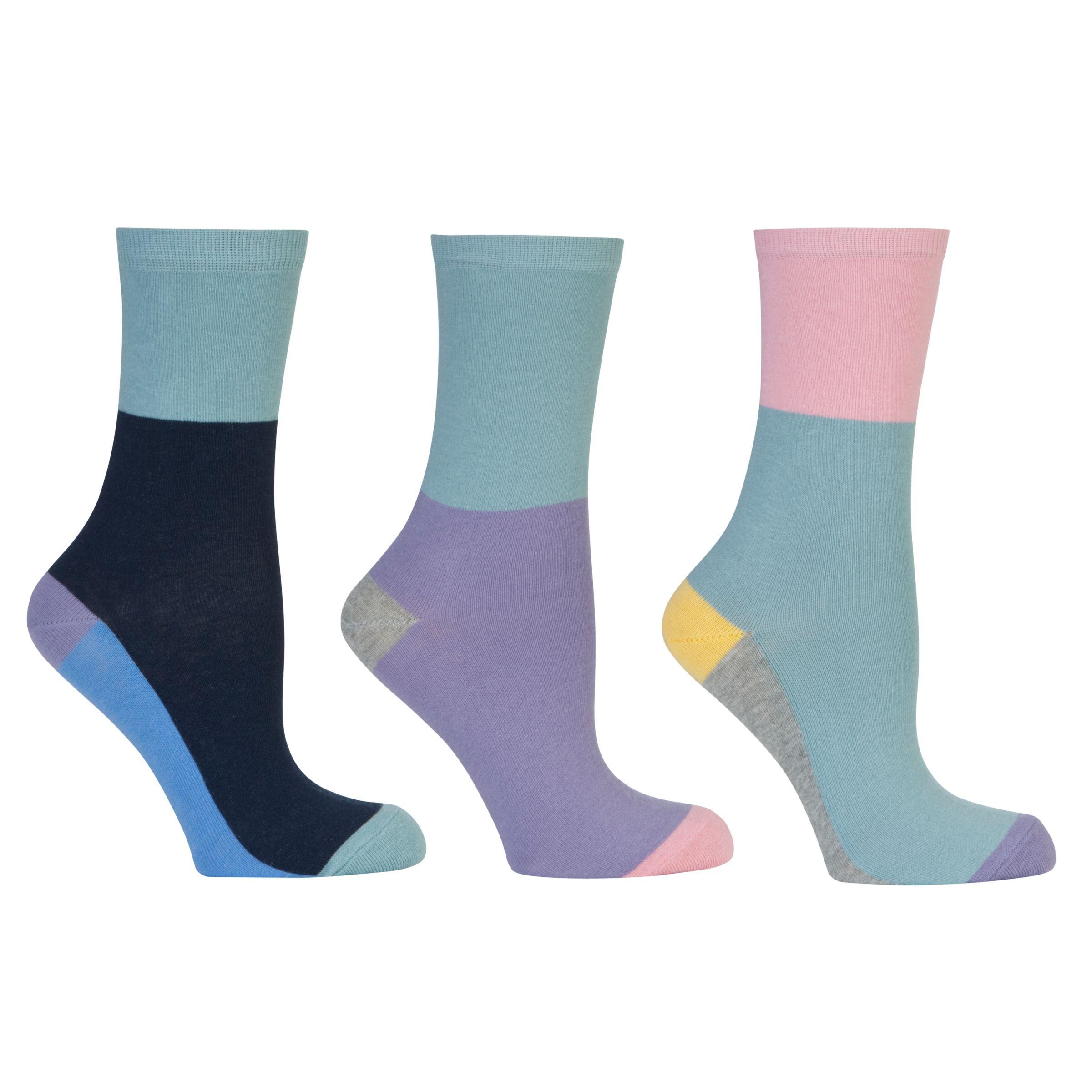 John Lewis Colour Block Ankle Socks, Pack of 3, Multi