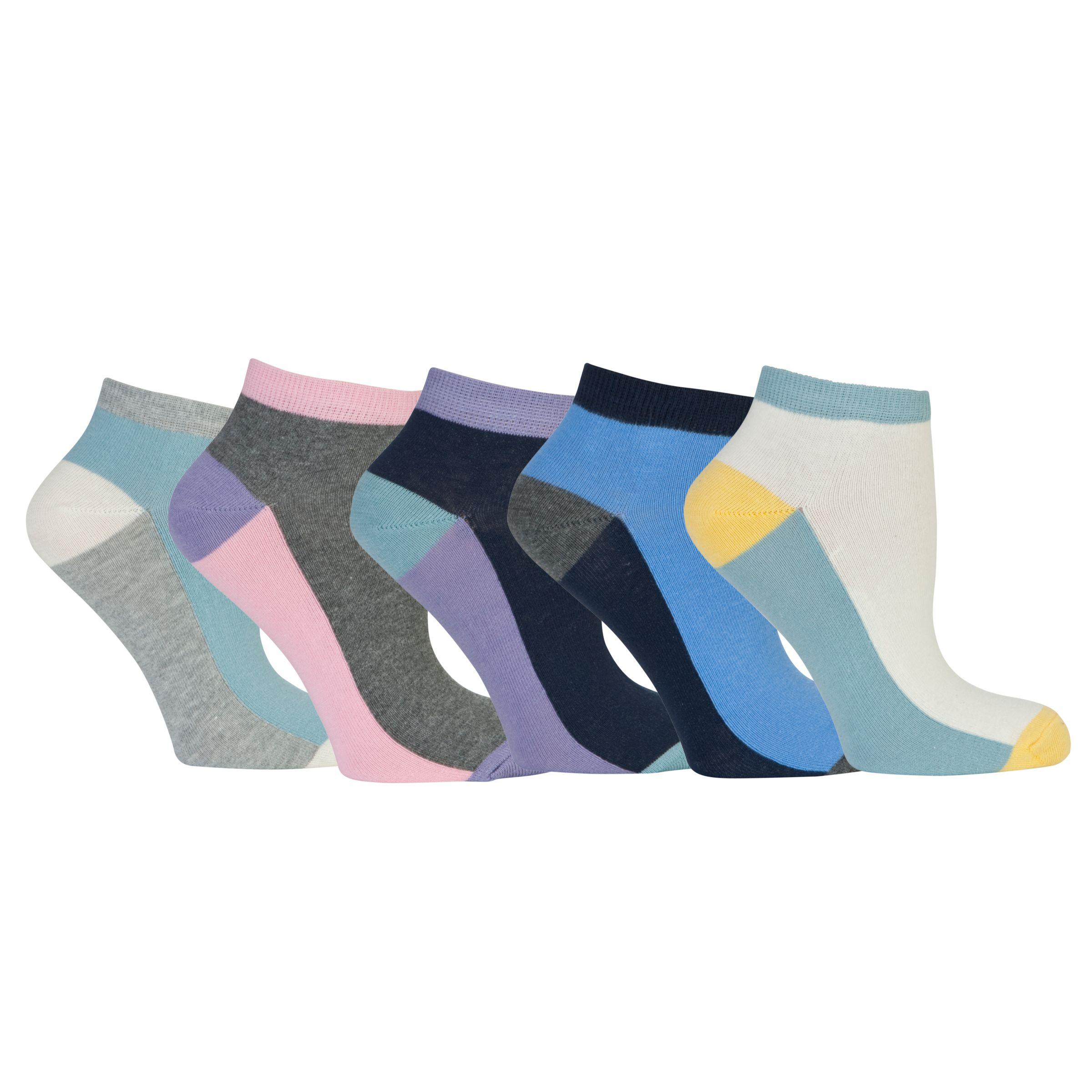 John Lewis Colour Block Trainer Socks, Pack of 5, Multi