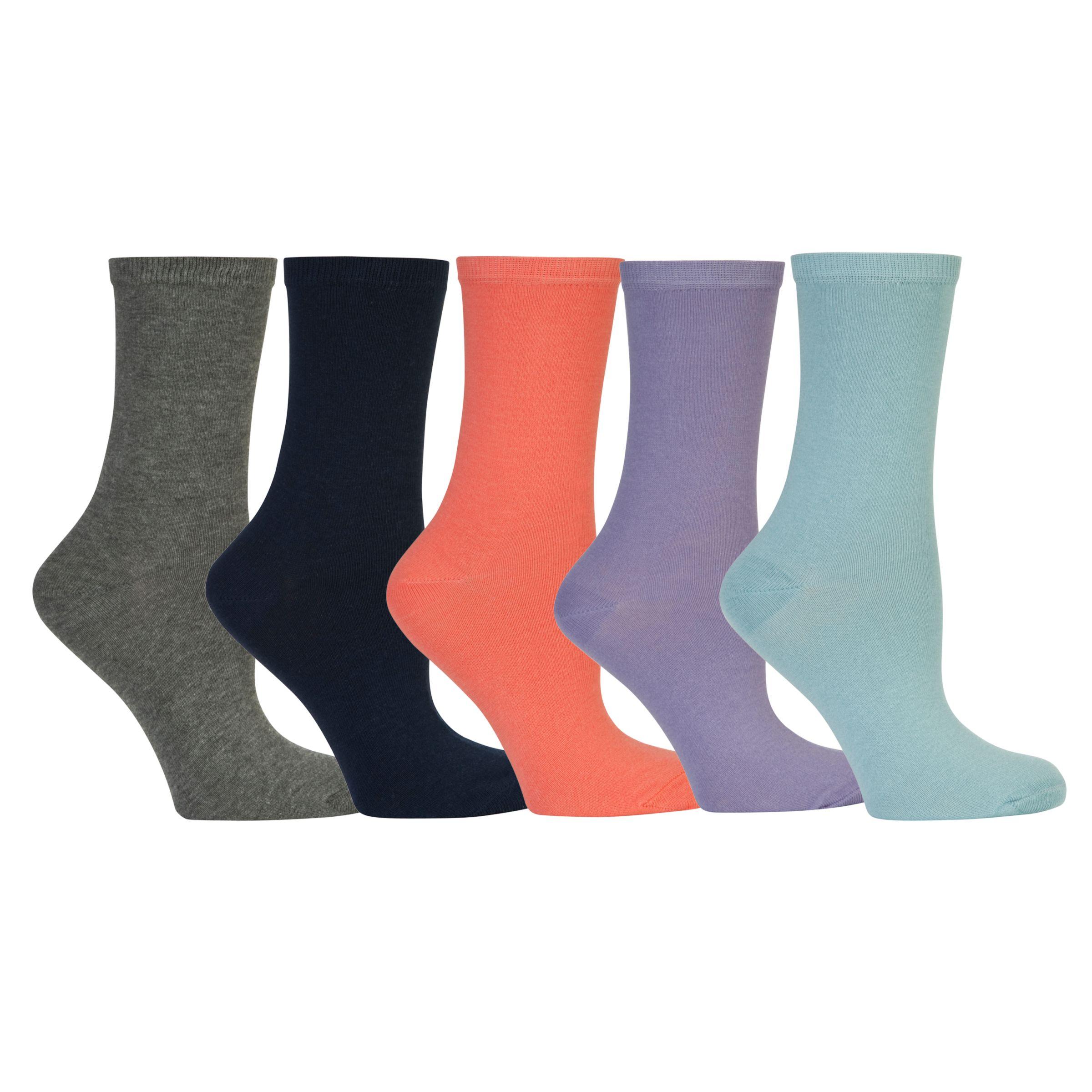 John Lewis Plain Cotton Feel Socks, Pack of 5, Multi