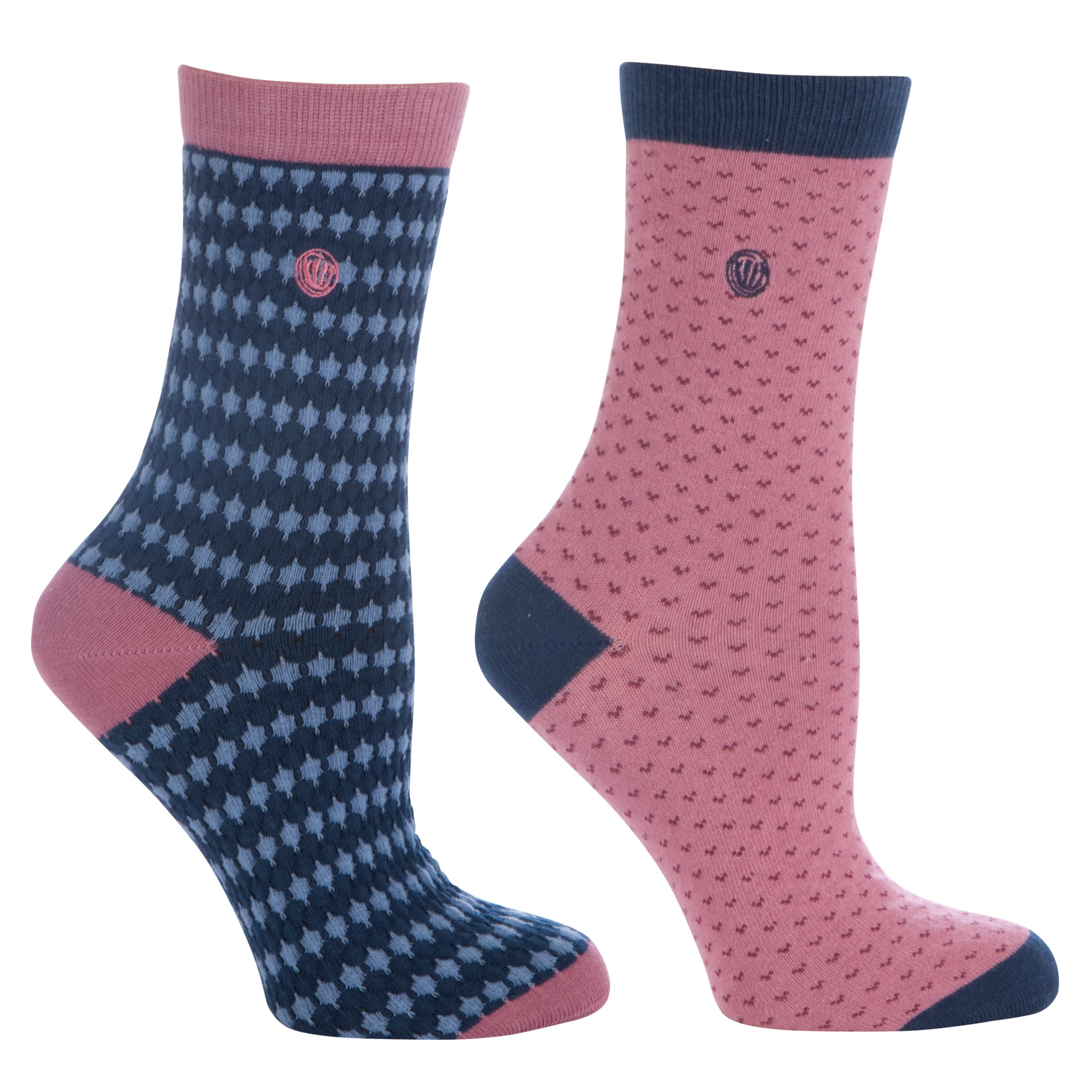Fat Face Stripe and Spot Patterned Socks, Pack of 2, Navy