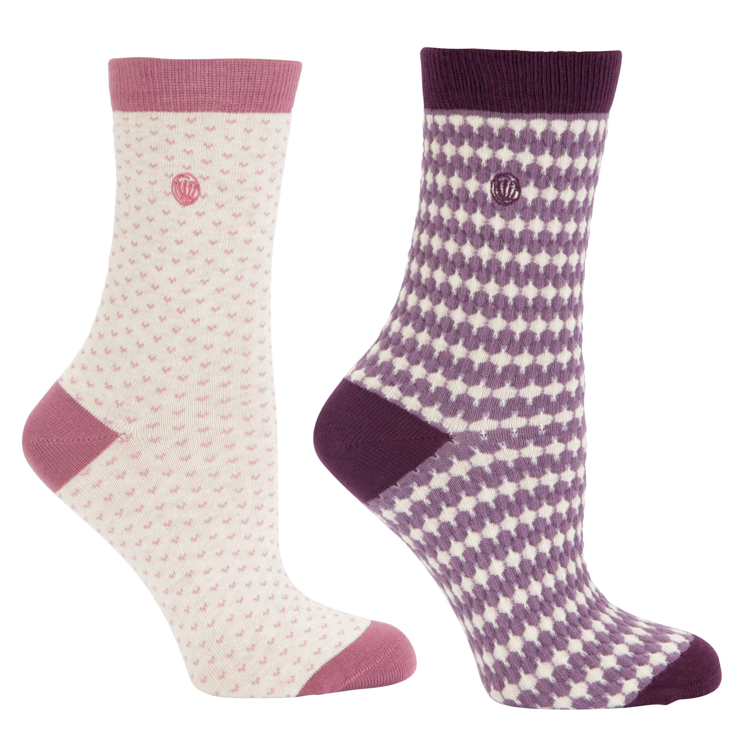 Fat Face Stripe and Spot Patterned Socks, Pack of 2, Mauve