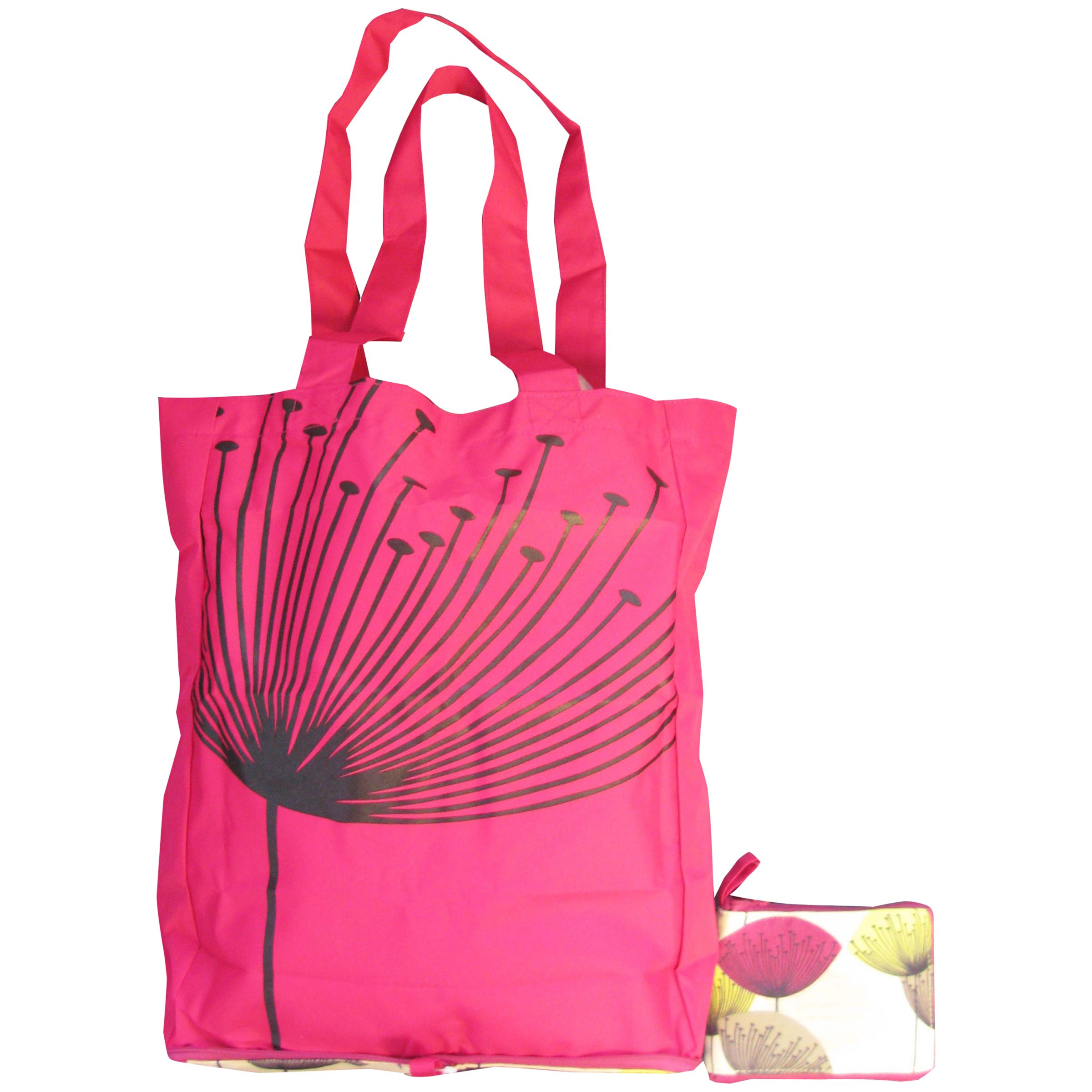 Sanderson Dandelion Clocks Foldaway Shopping Bag, Pink
