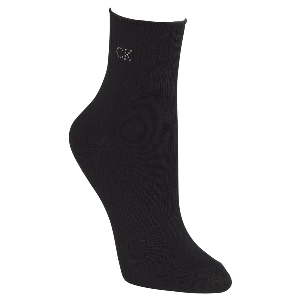 Calvin Klein Soft Touch Crystal Logo Ankle Socks, Black