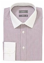 John Lewis Bengal Stripe Tailored Shirt, Bordeaux