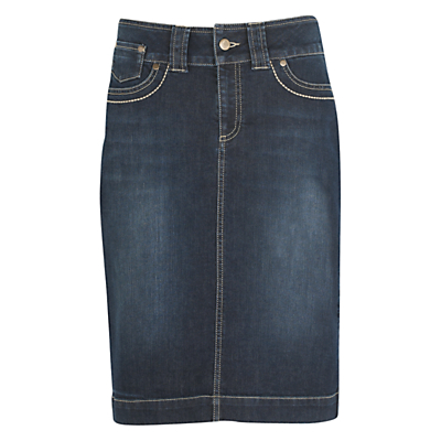 kew.159 Denim Knee Length Skirt, Washed Indigo £55