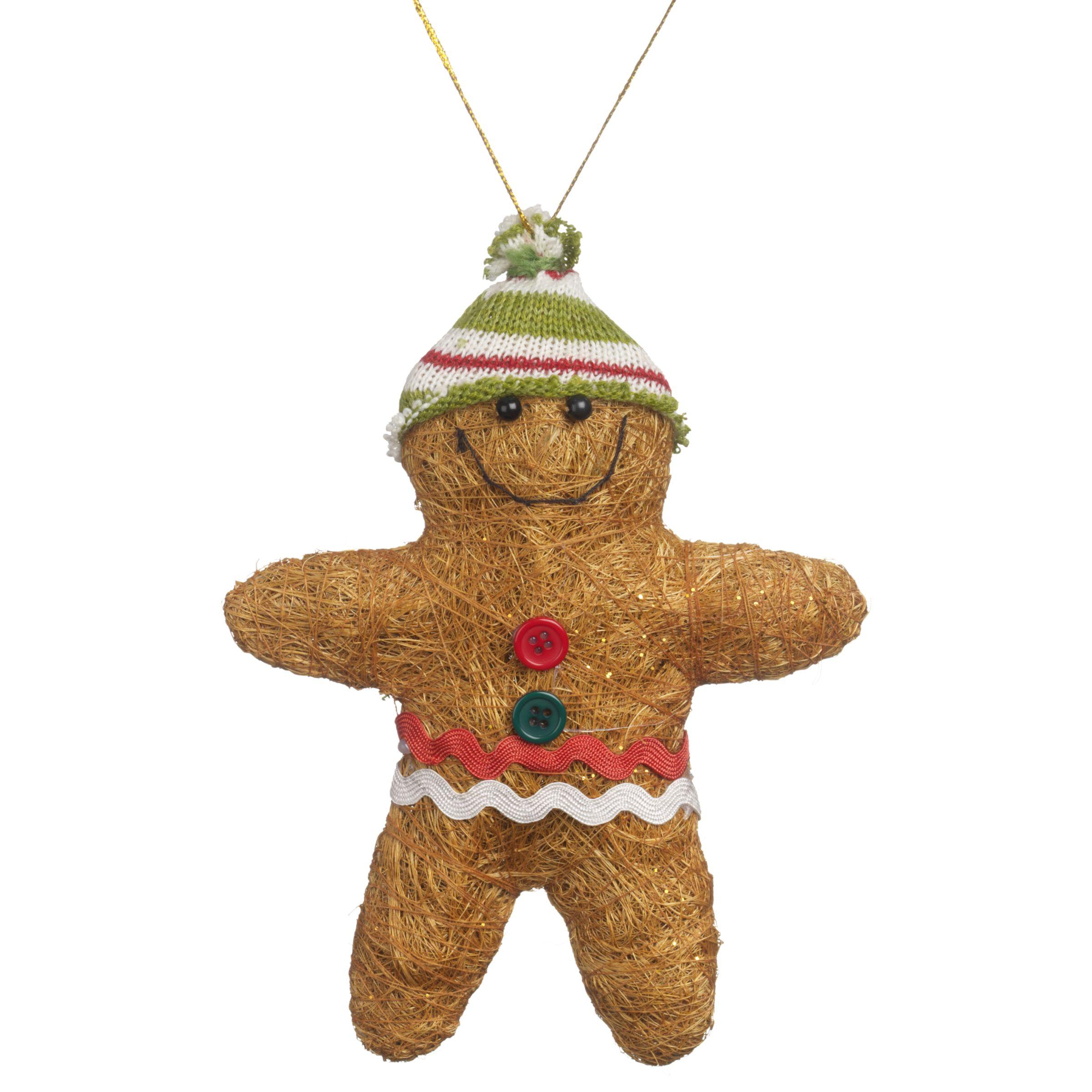 Big Decs Gingerbread Tree Decorations, Pack Of 6