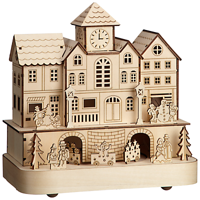 John Lewis Led Wooden Village Train Natural 20 Holy Moly This One Has A That Drives Round